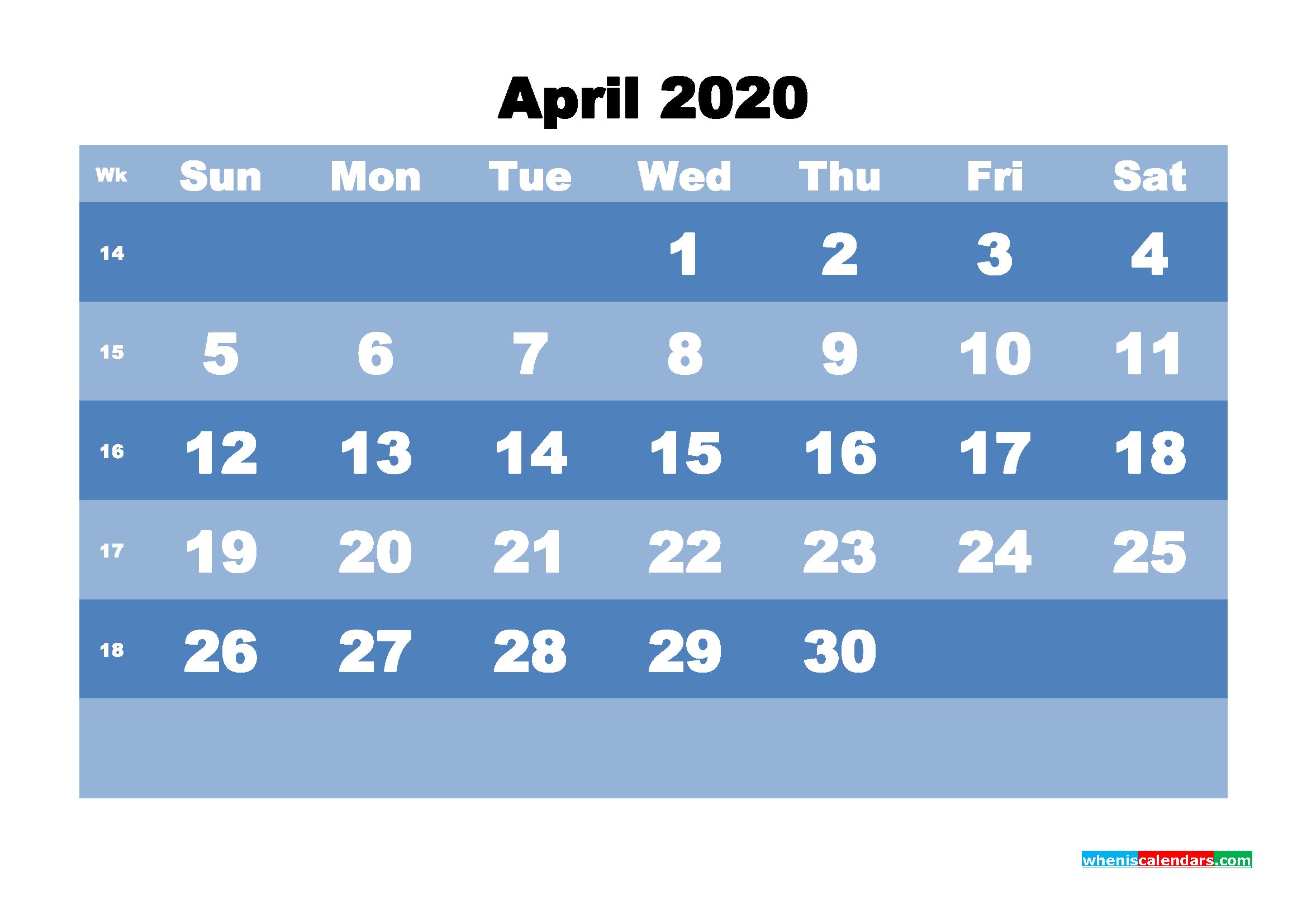 April Printable Calendar 2020 PDF, Word - No.m20b520