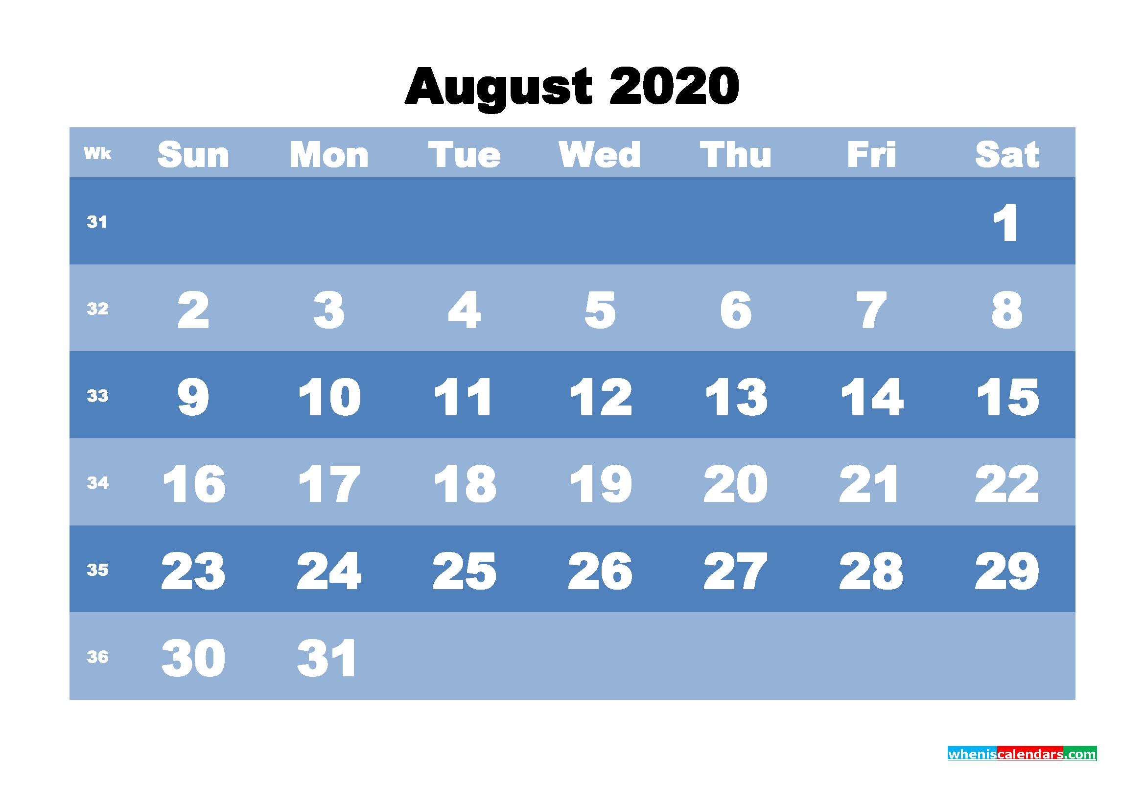 August Printable Calendar 2020 PDF, Word - No.m20b524
