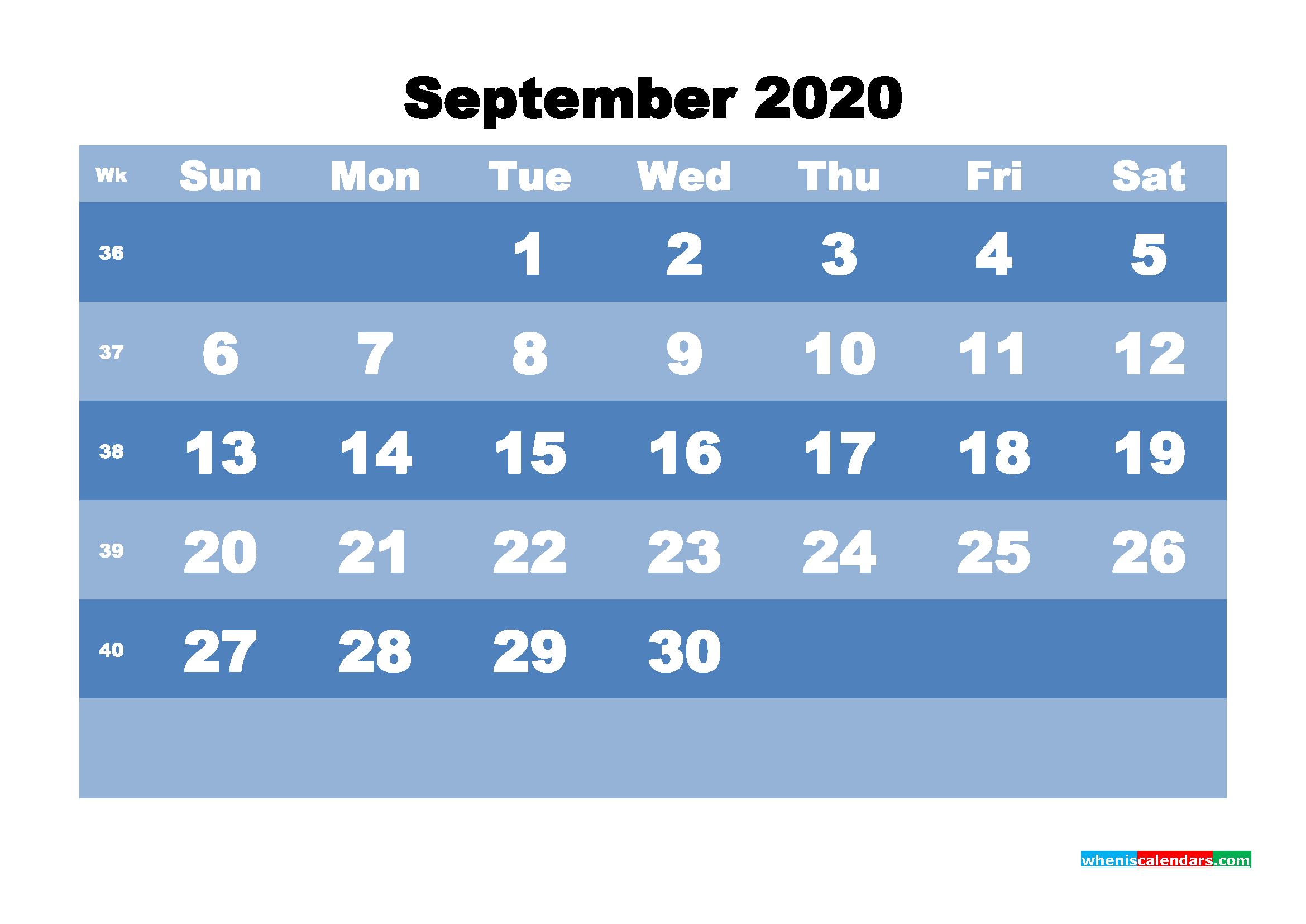 September Printable Calendar 2020 PDF, Word - No.m20b525