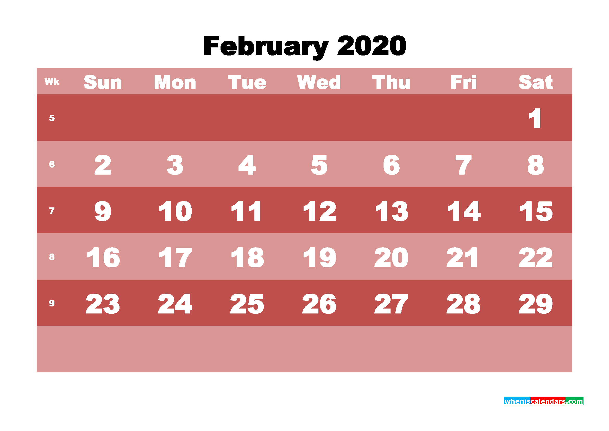 Printable Monthly Calendar 2020 February with Week Numbers