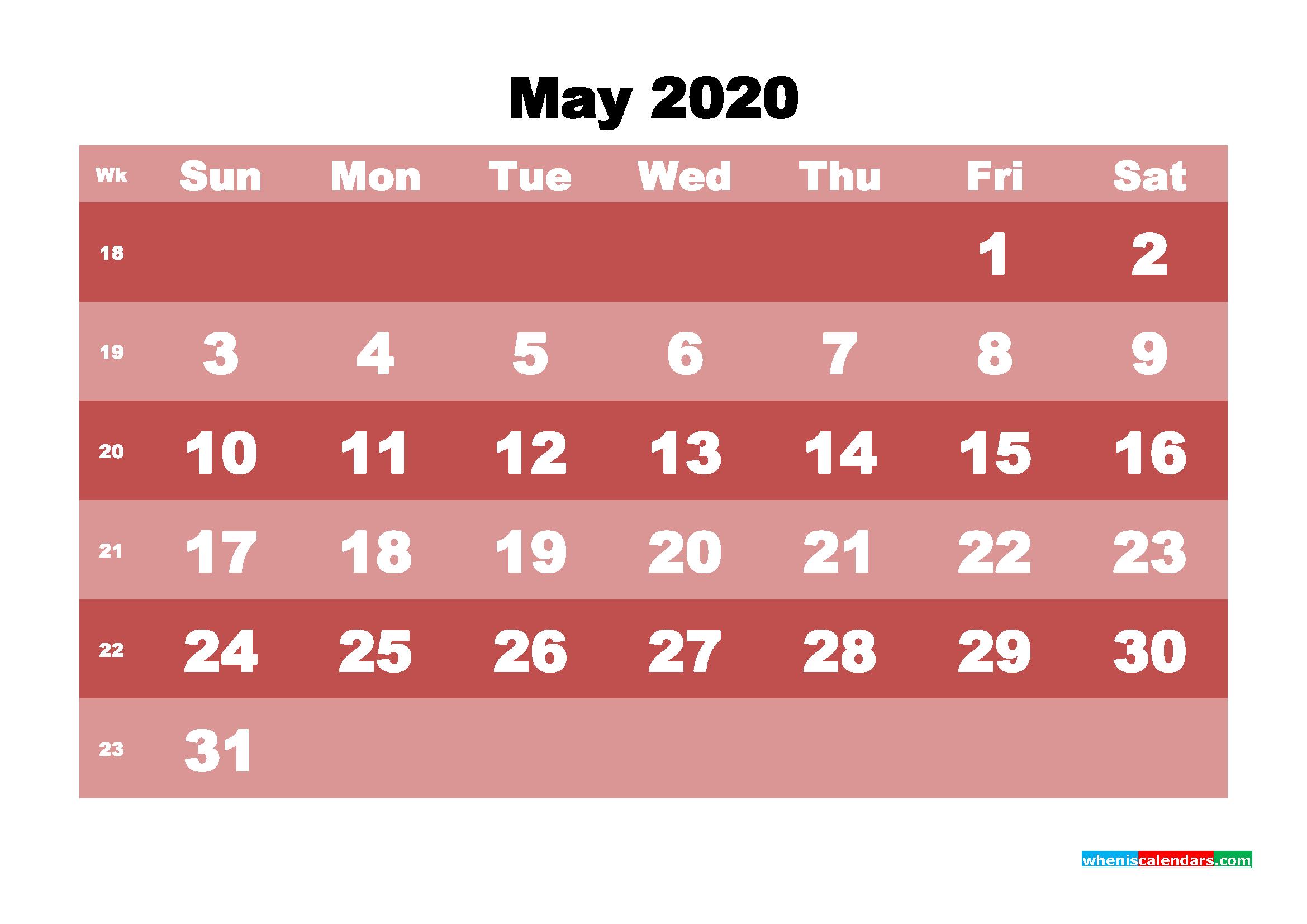 Free Printable May 2020 Calendar - No.m20b533
