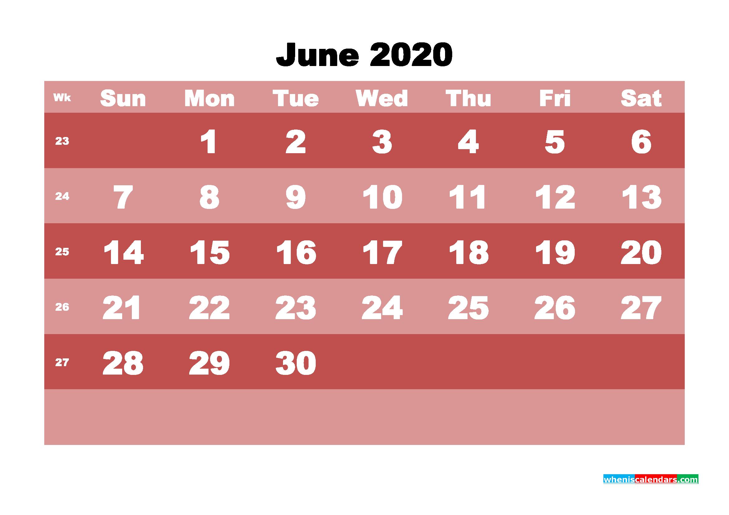 Free Printable June 2020 Calendar - No.m20b534
