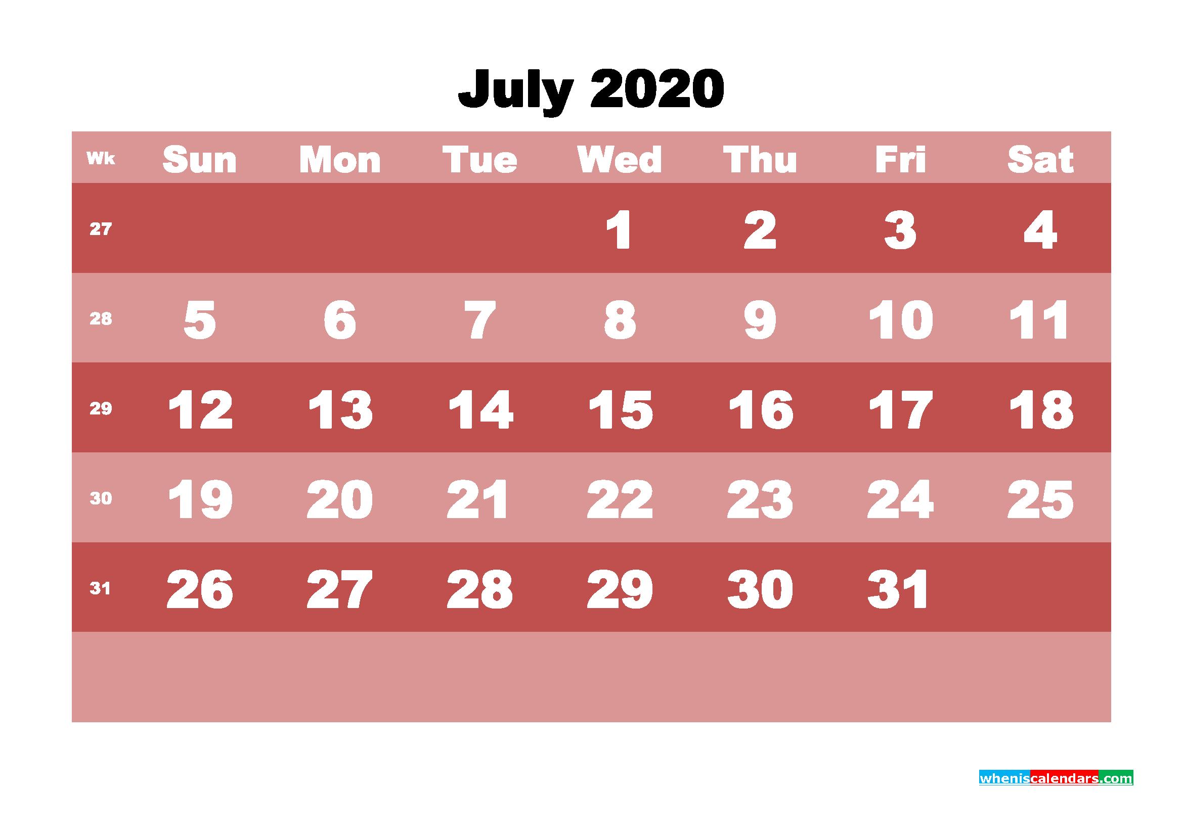 Free Printable July 2020 Calendar - No.m20b535