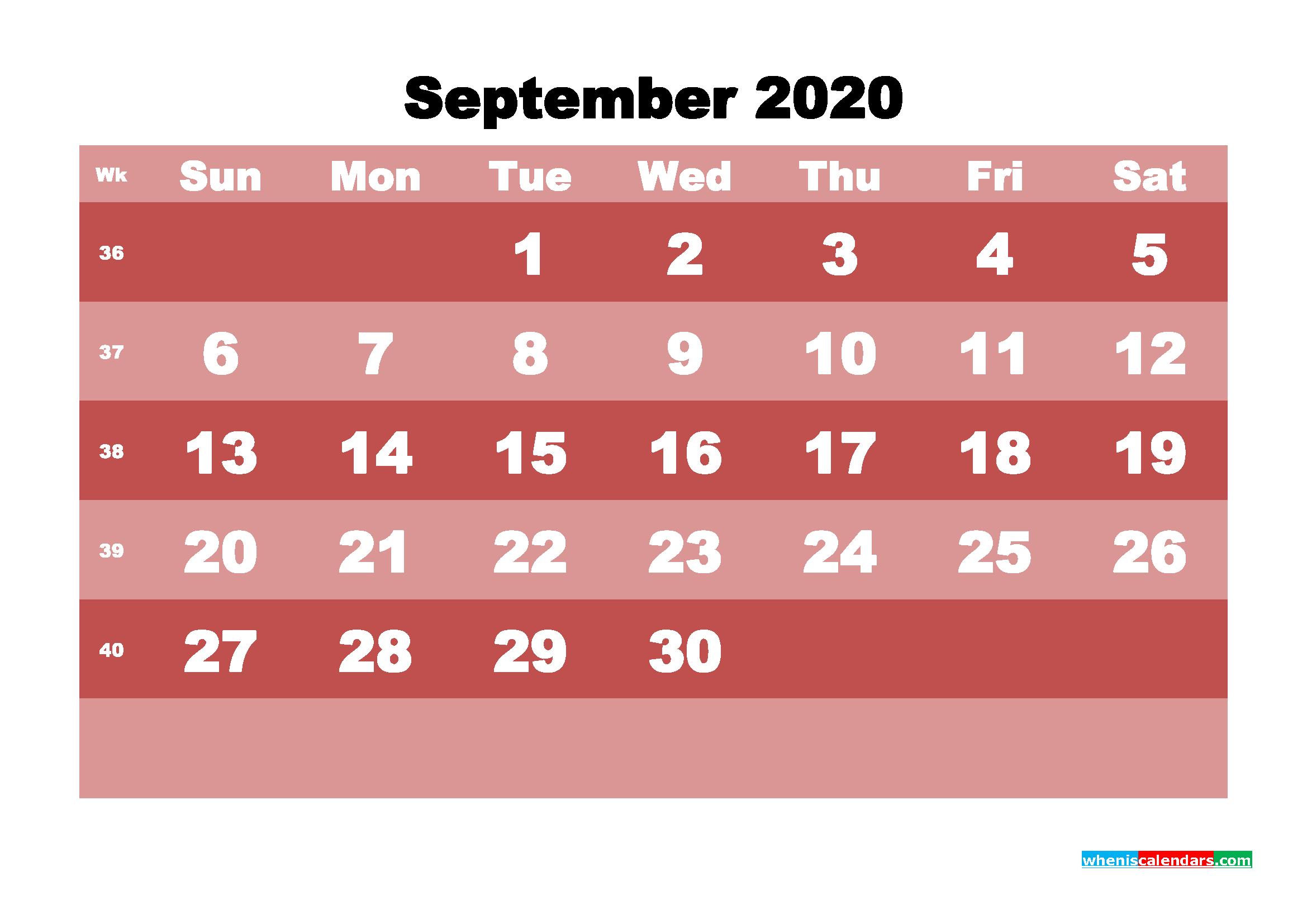 Free Printable September 2020 Calendar - No.m20b537