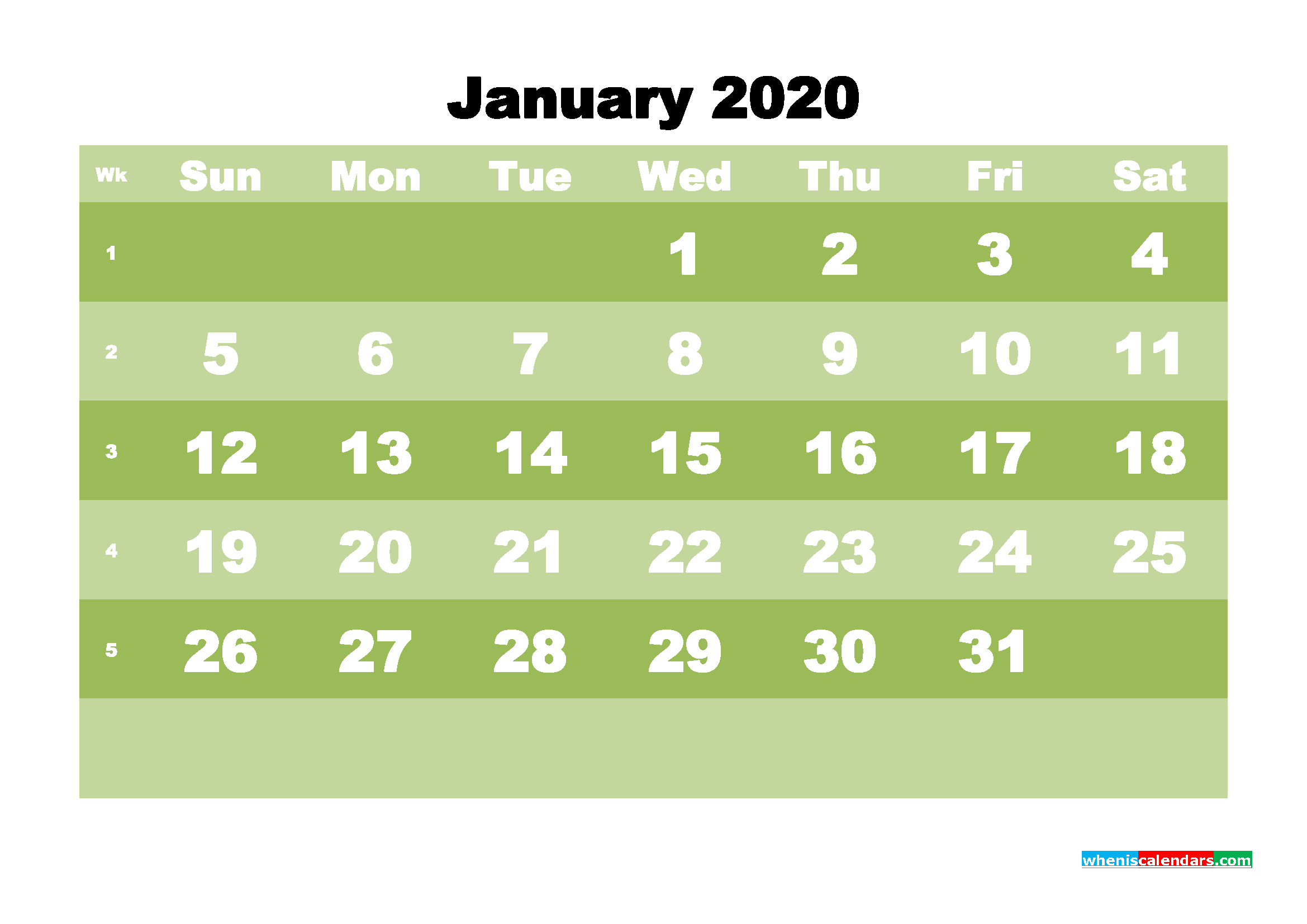 Free Blank Calendar January 2020 Printable - No.m20b541