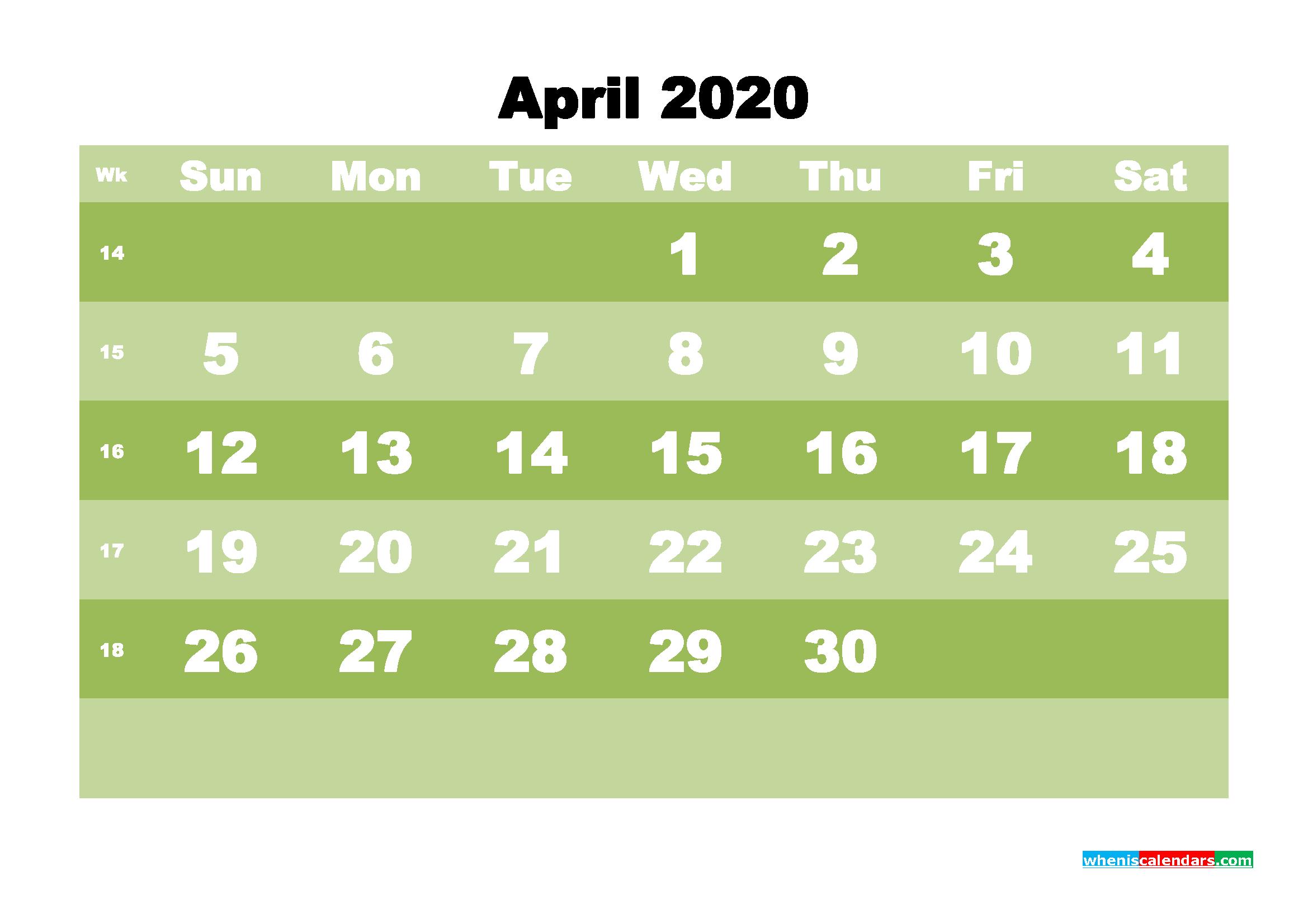 Free Blank Calendar April 2020 Printable - No.m20b544