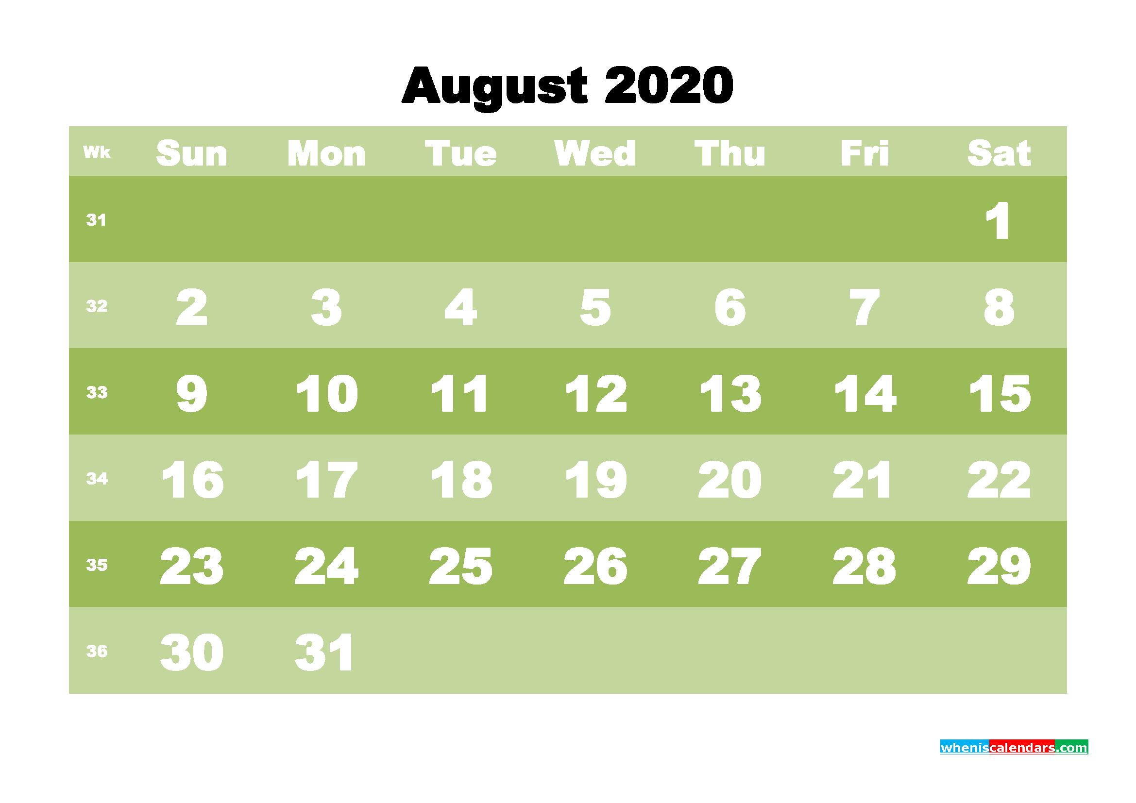 Free Blank Calendar August 2020 Printable - No.m20b548