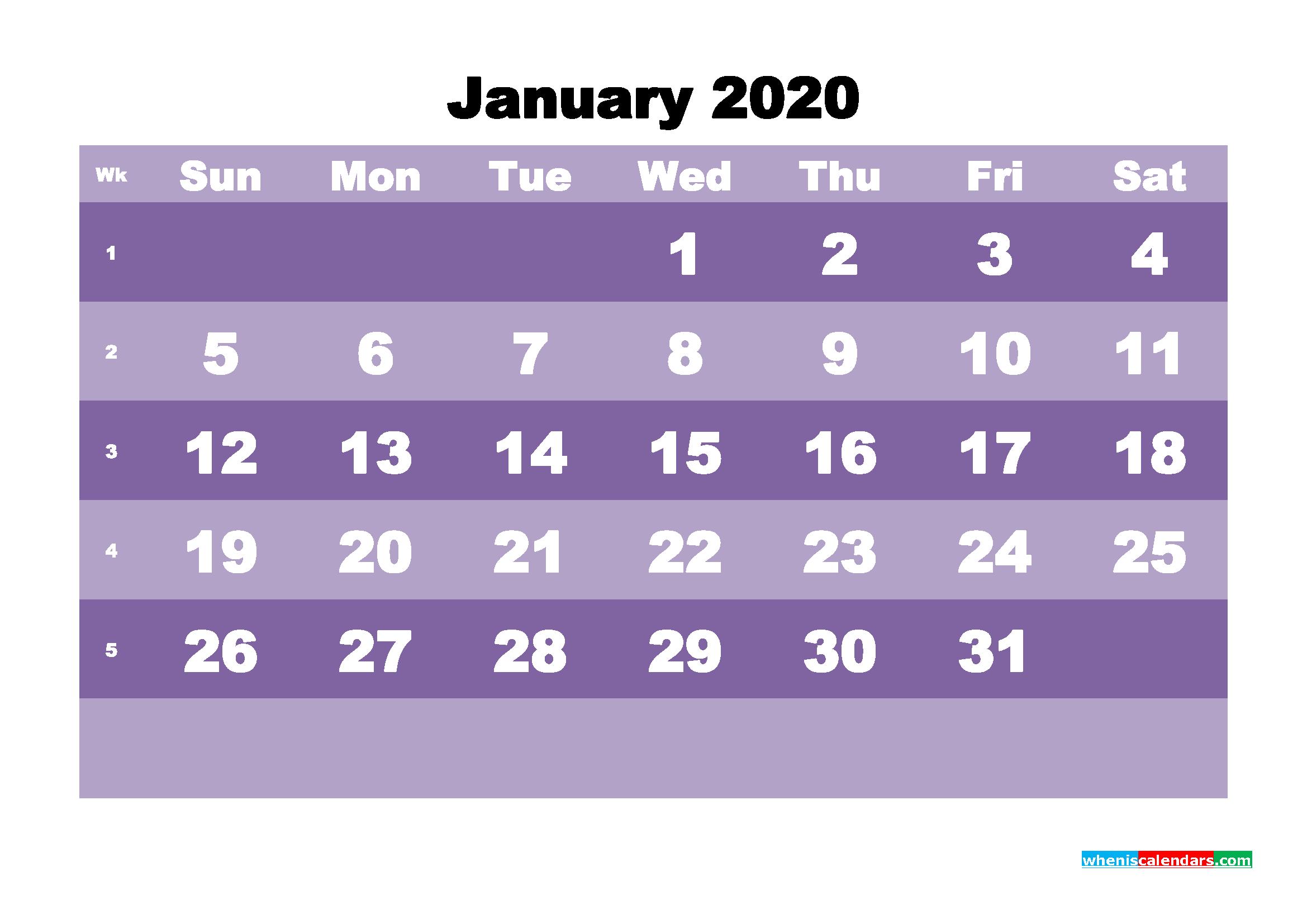 Blank January 2020 Calendar Printable - No.m20b553