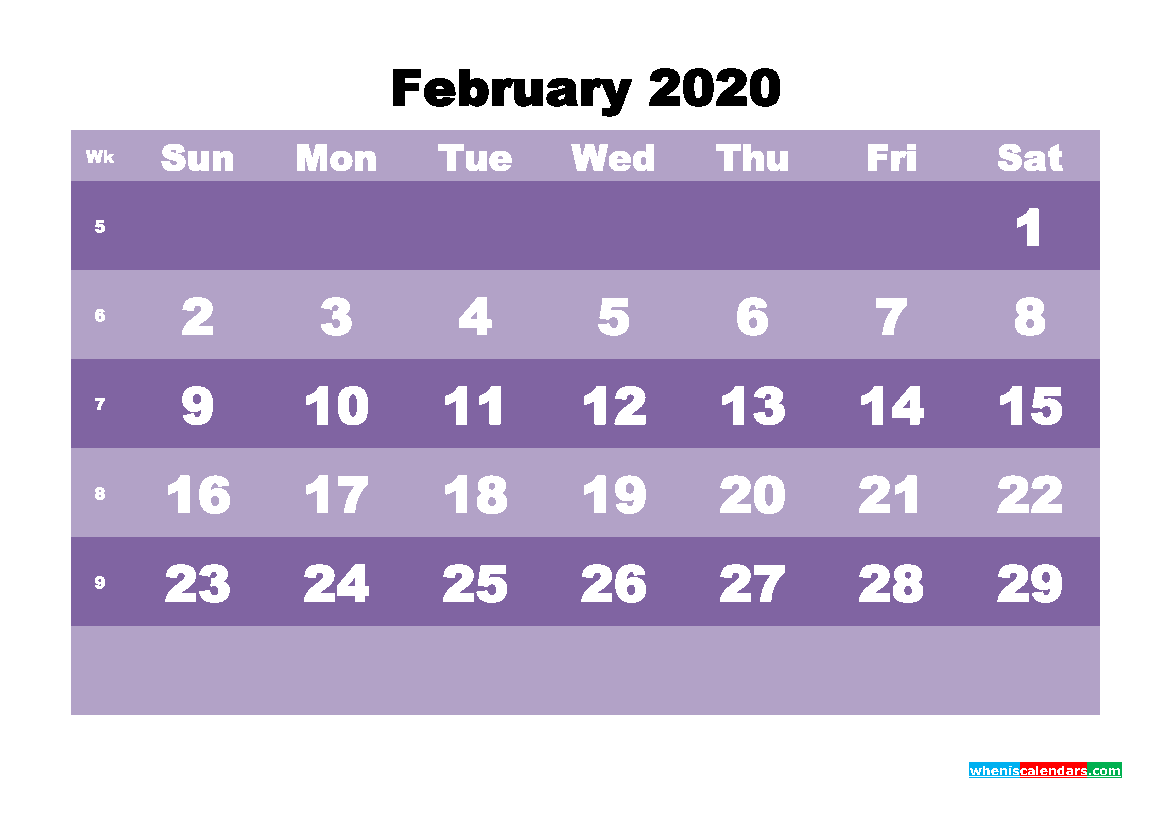 Blank February 2020 Calendar Printable - No.m20b554