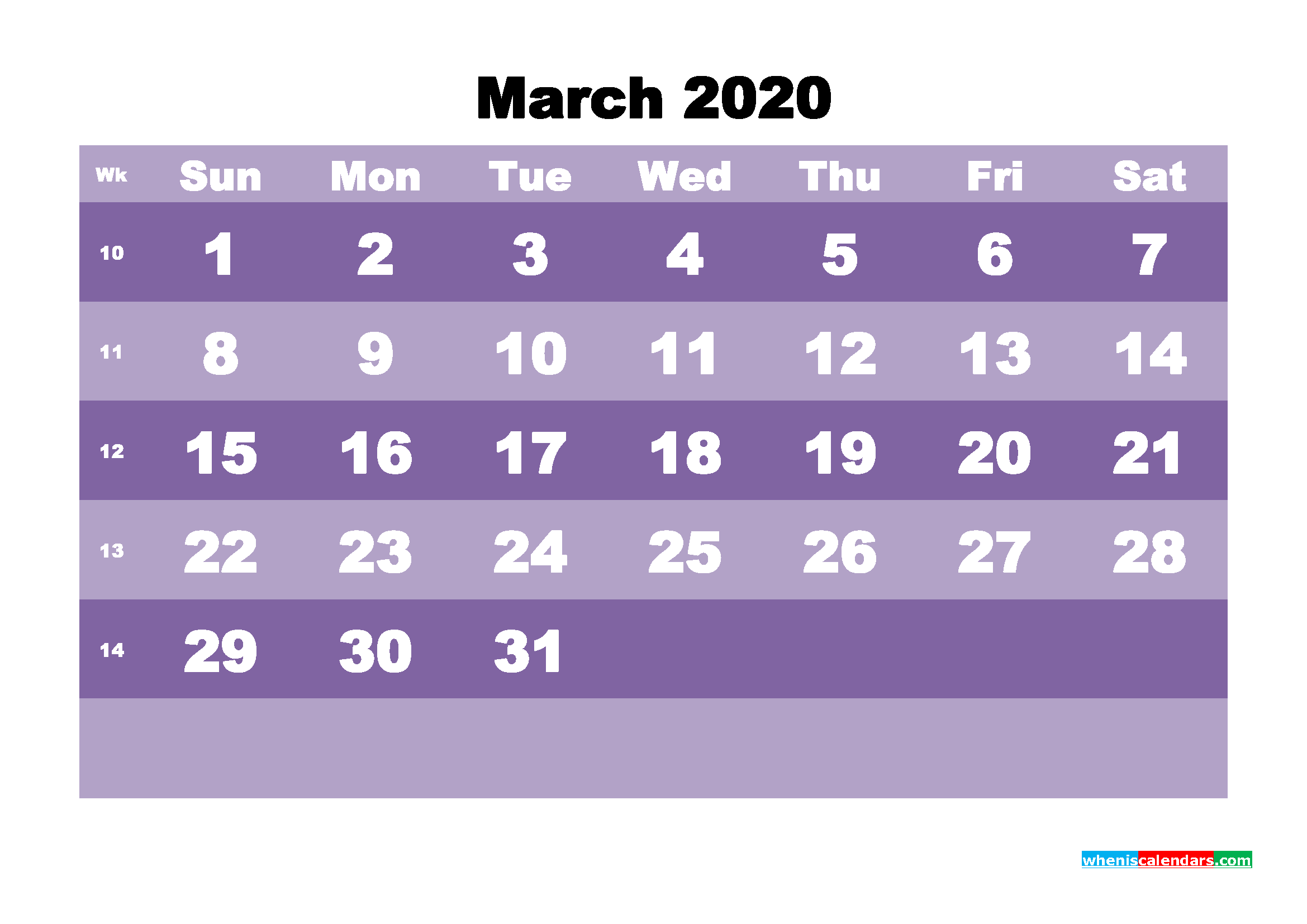 Blank March 2020 Calendar Printable - No.m20b555
