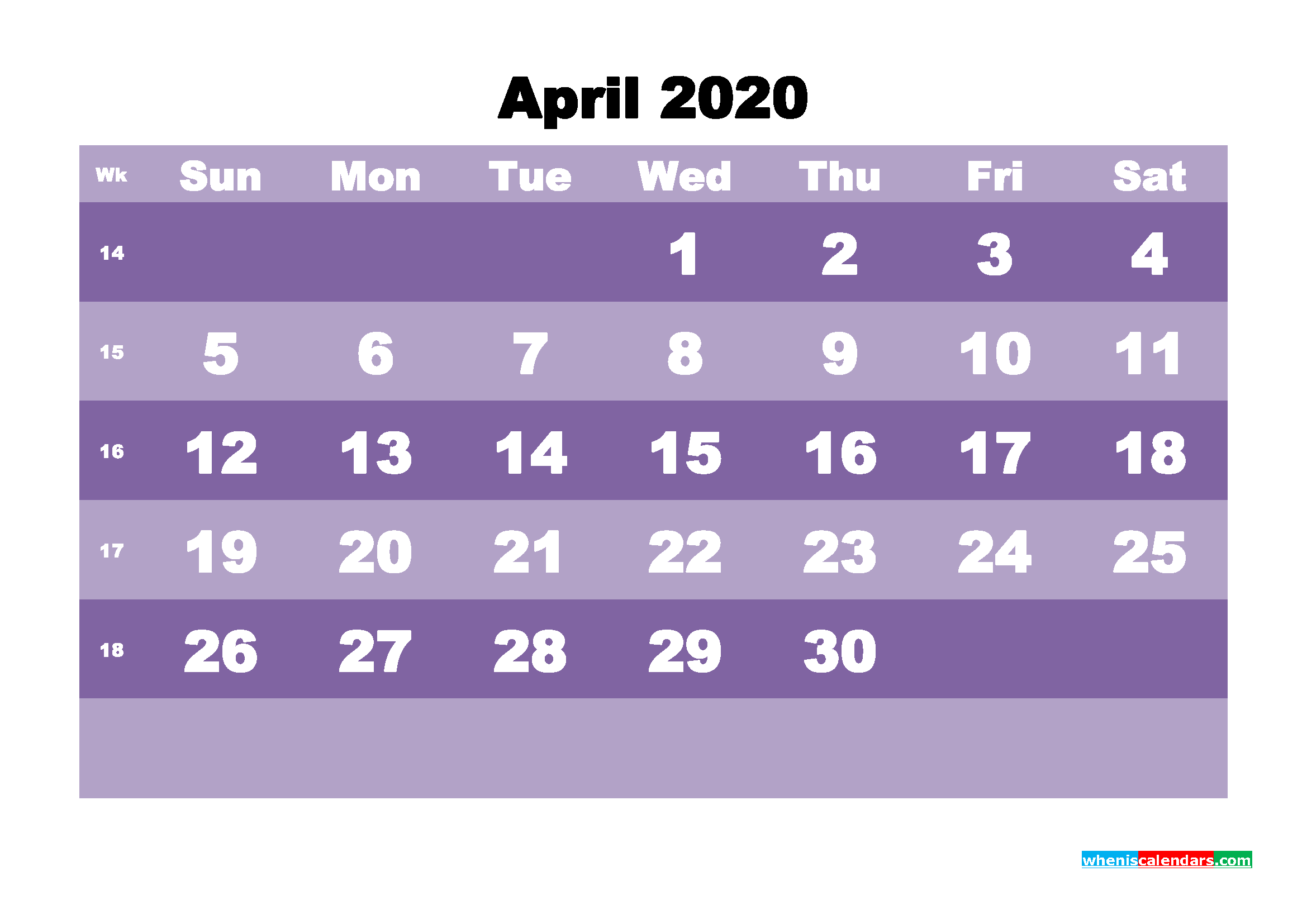 Blank April 2020 Calendar Printable - No.m20b556