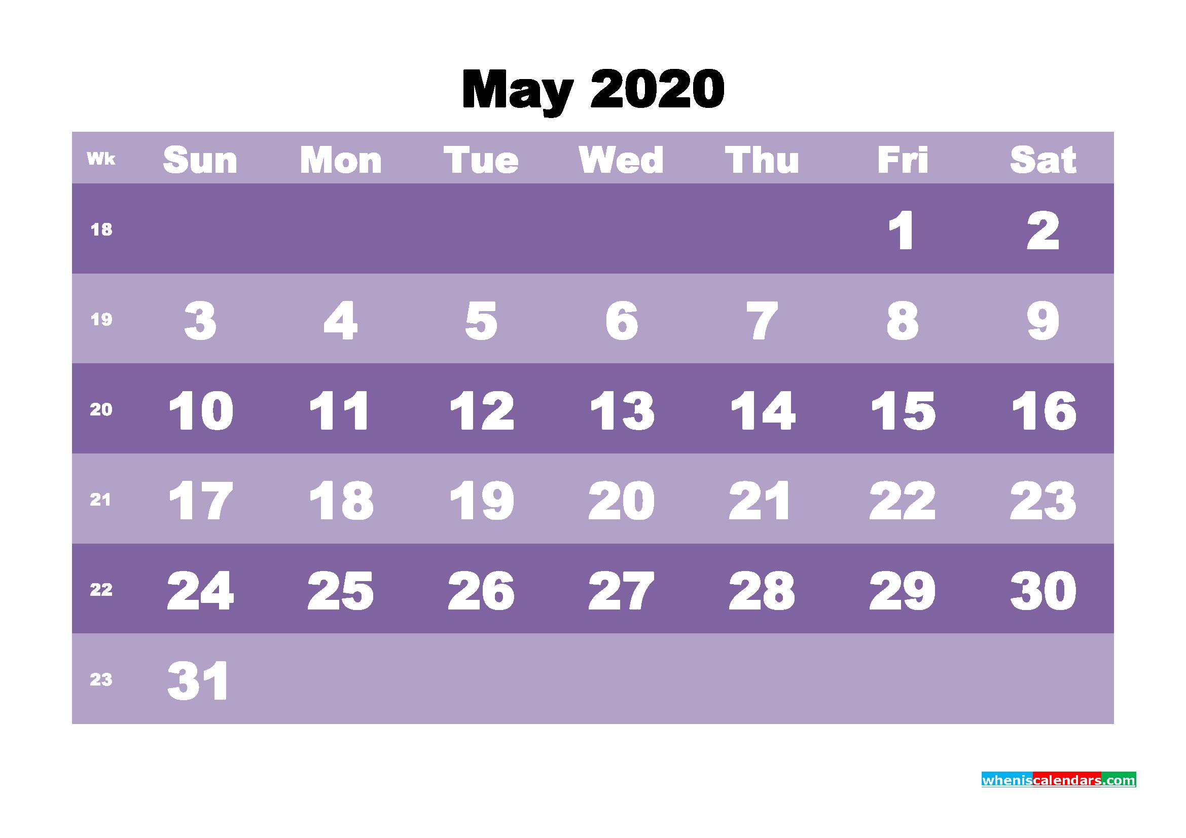 Blank May 2020 Calendar Printable - No.m20b557