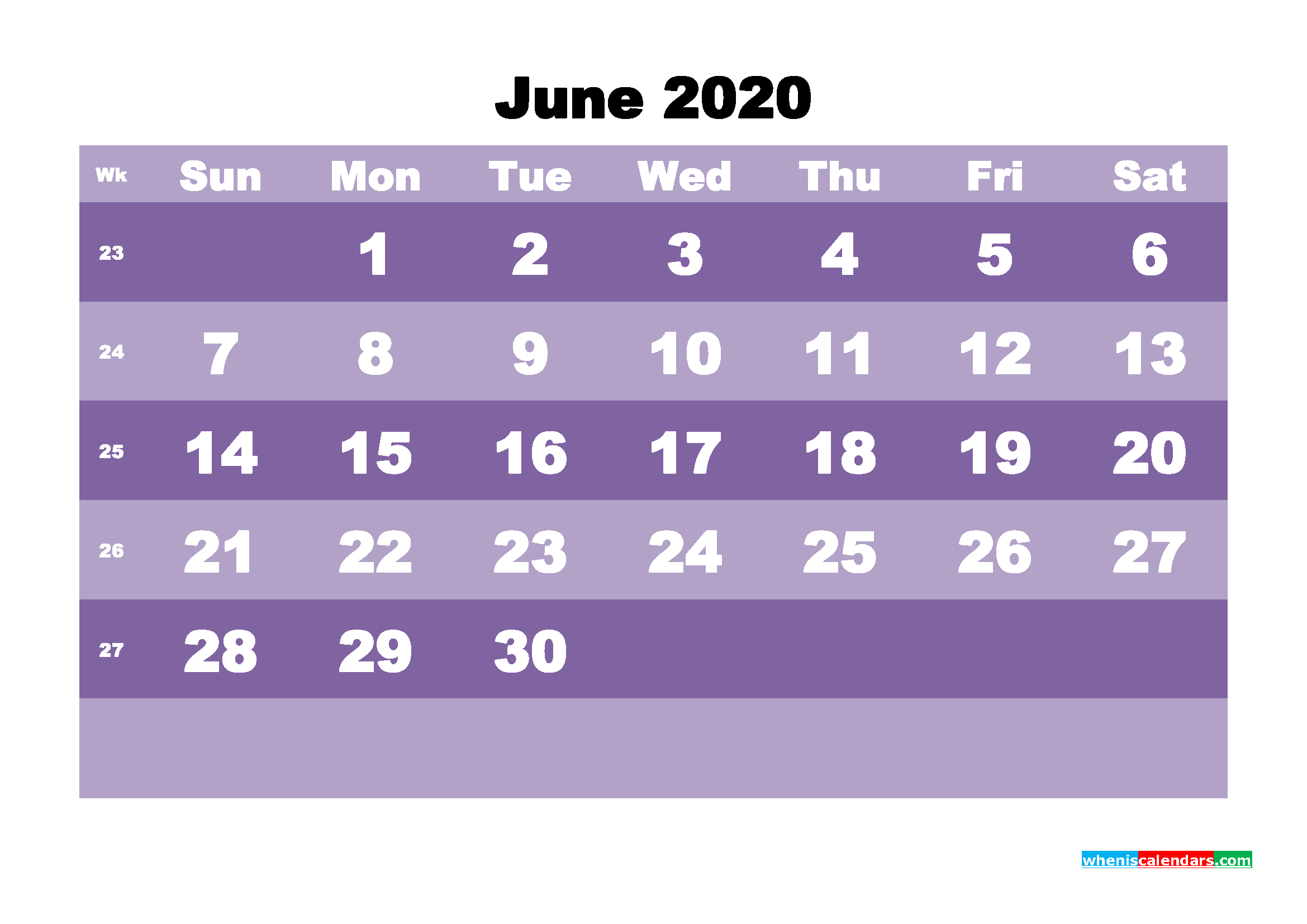 Blank June 2020 Calendar Printable - No.m20b558