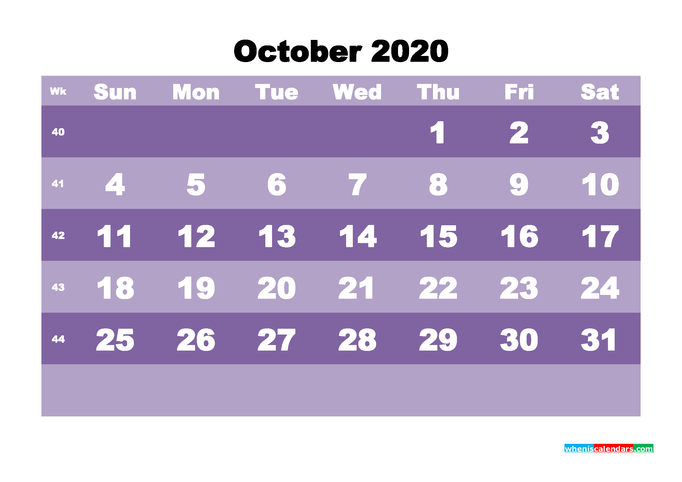 Blank October 2020 Calendar Printable - No.m20b562