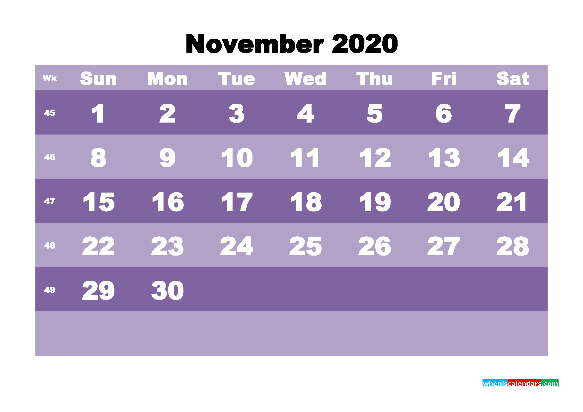 Blank November 2020 Calendar Printable - No.m20b563