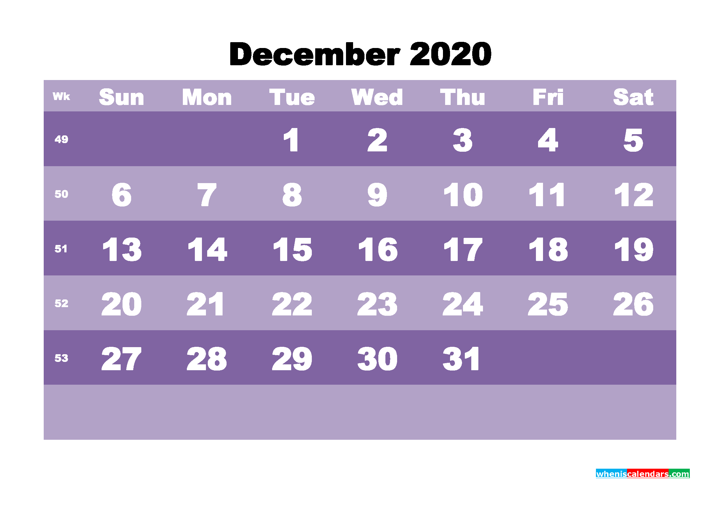 Blank December 2020 Calendar Printable - No.m20b564