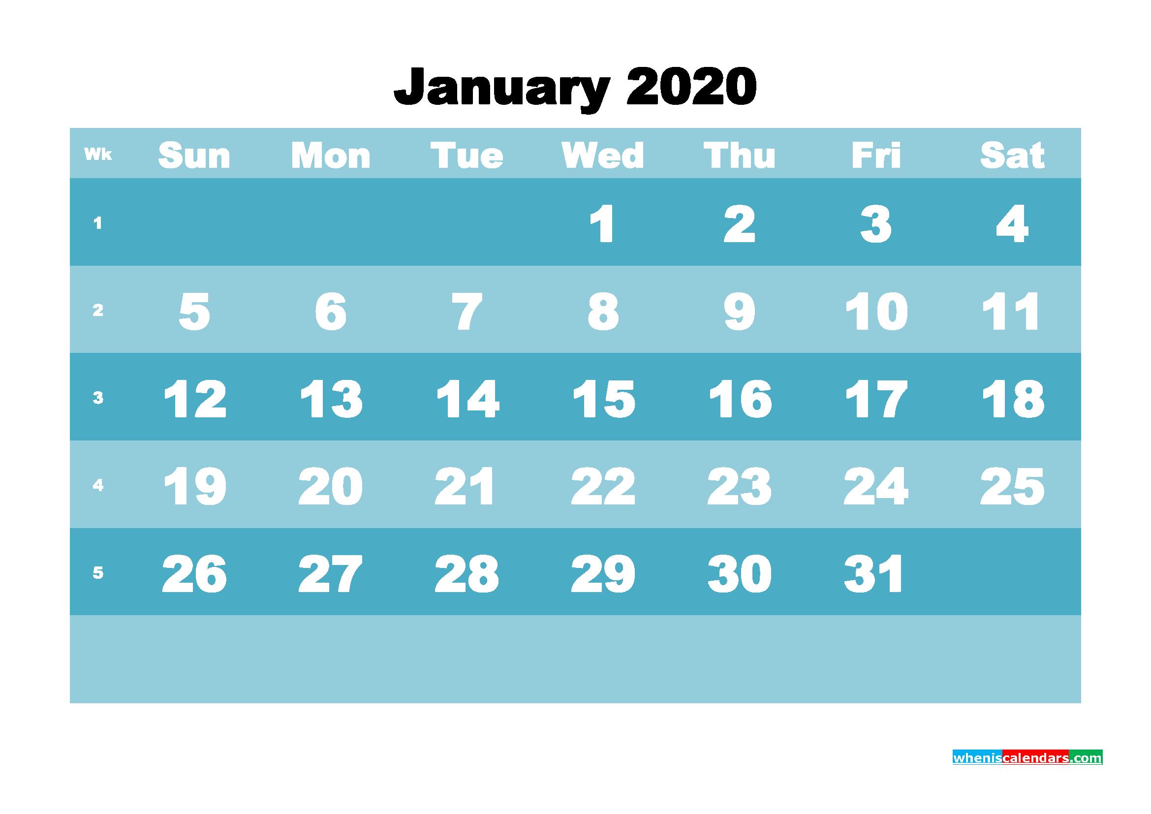 January 2020 Blank Calendar Printable - No.m20b565