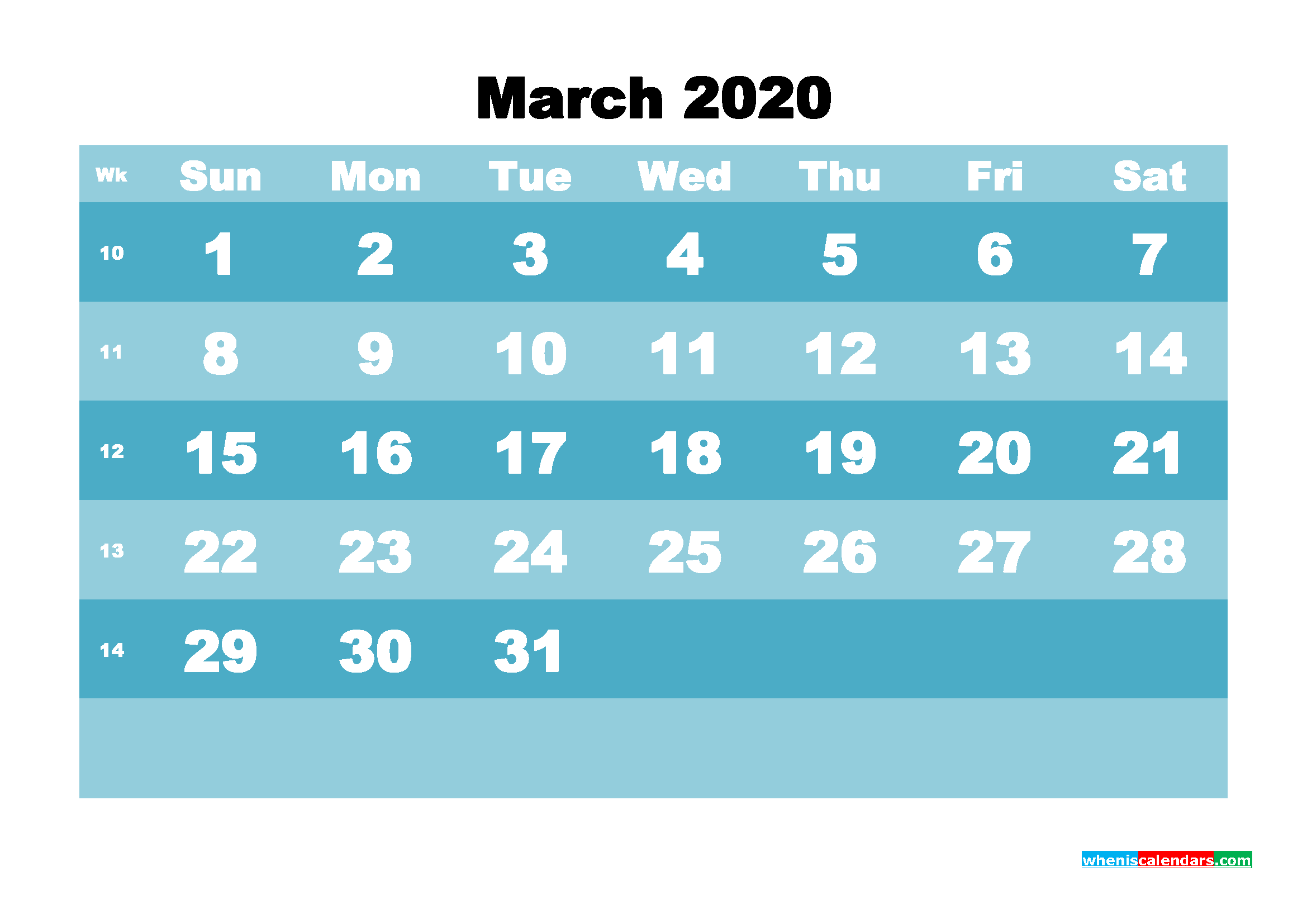 March 2020 Blank Calendar Printable - No.m20b567