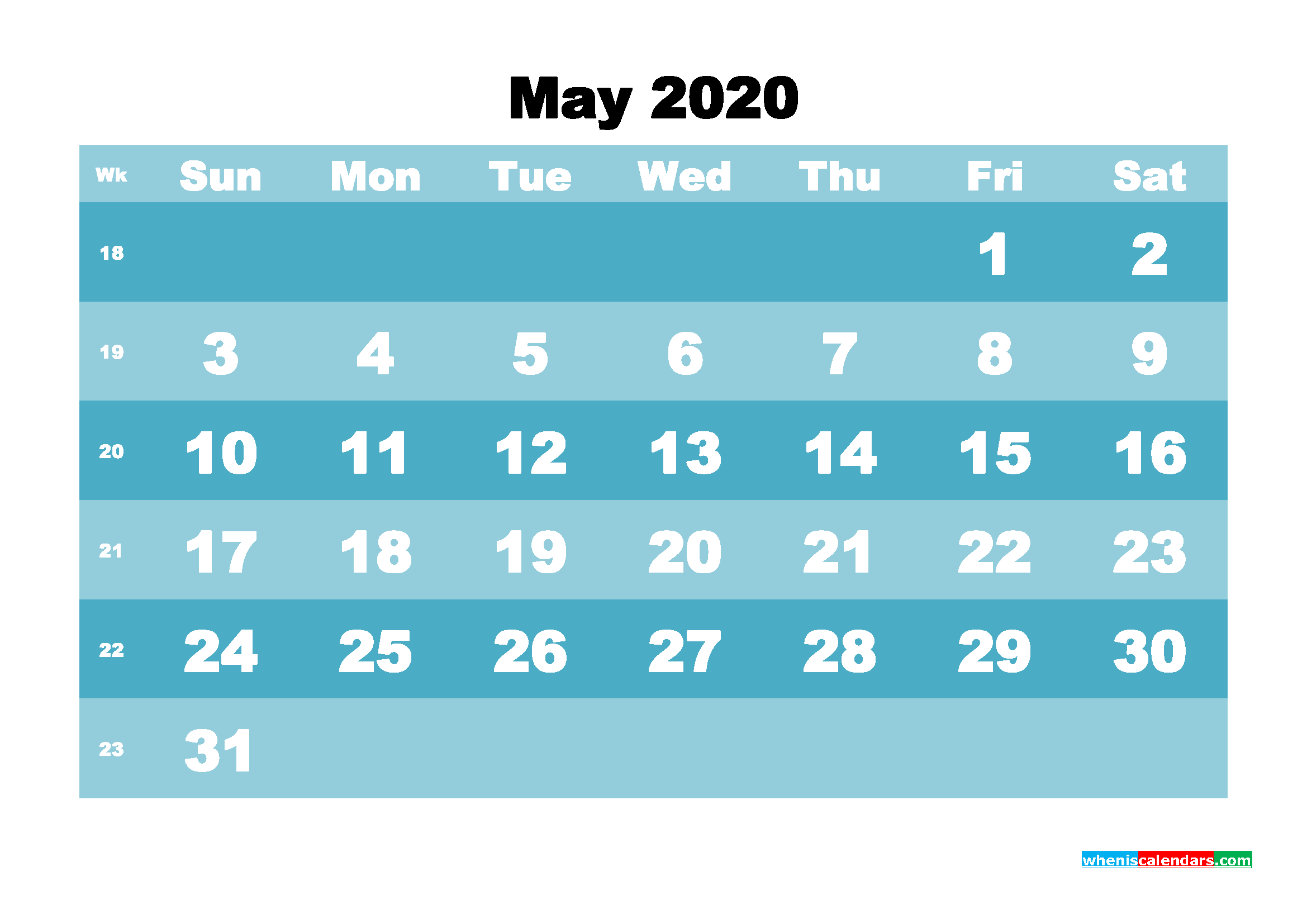 May 2020 Blank Calendar Printable - No.m20b569