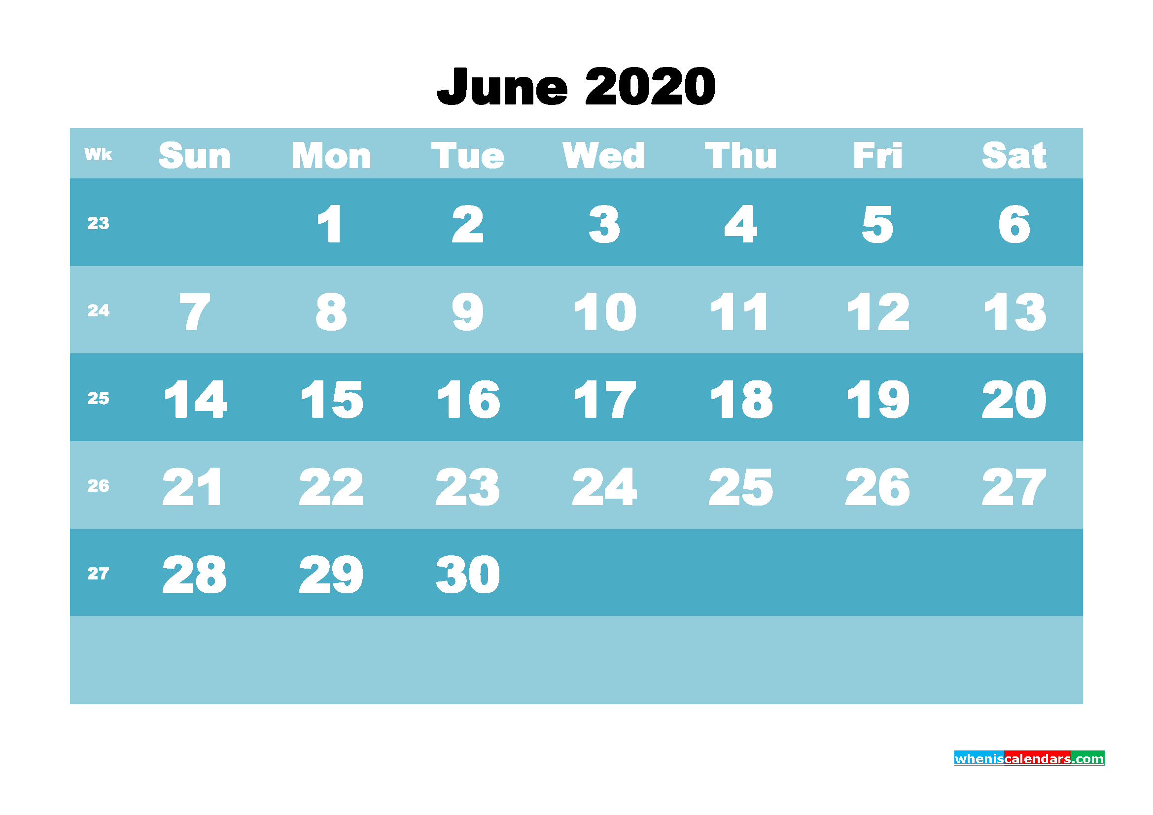 June 2020 Blank Calendar Printable - No.m20b570