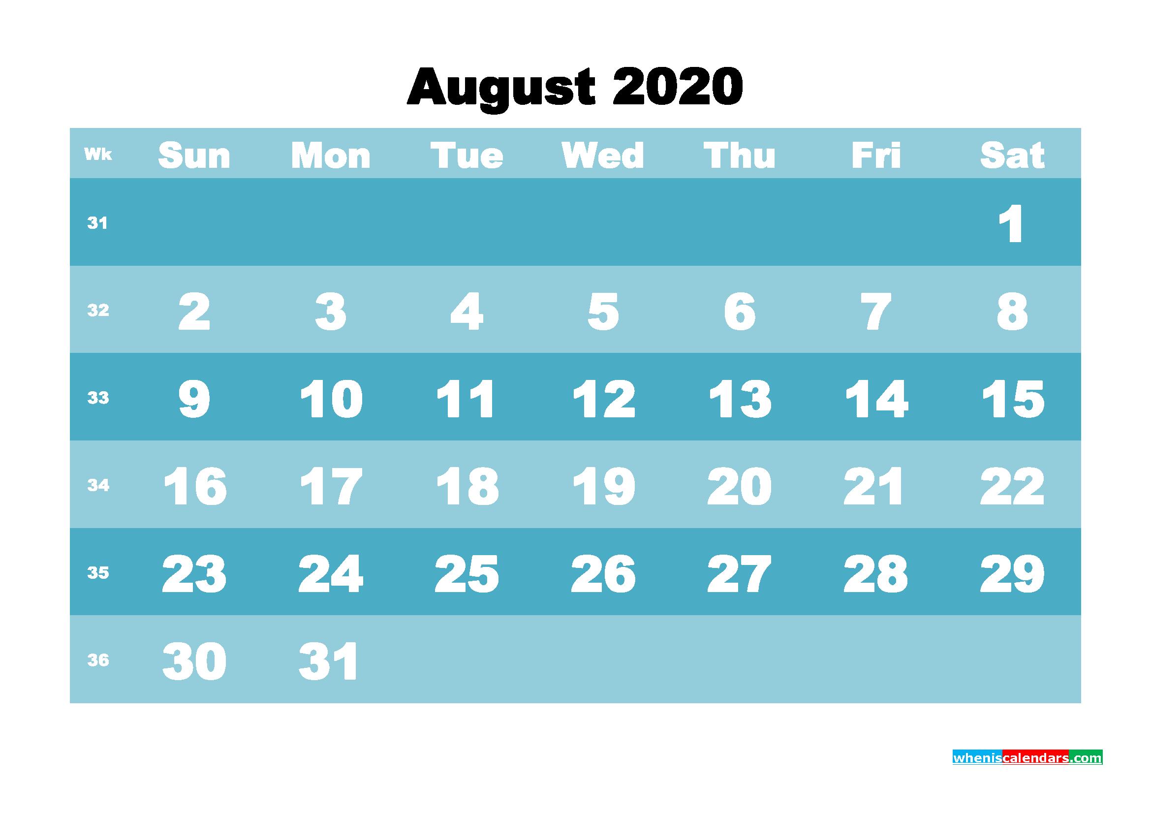 August 2020 Blank Calendar Printable - No.m20b572