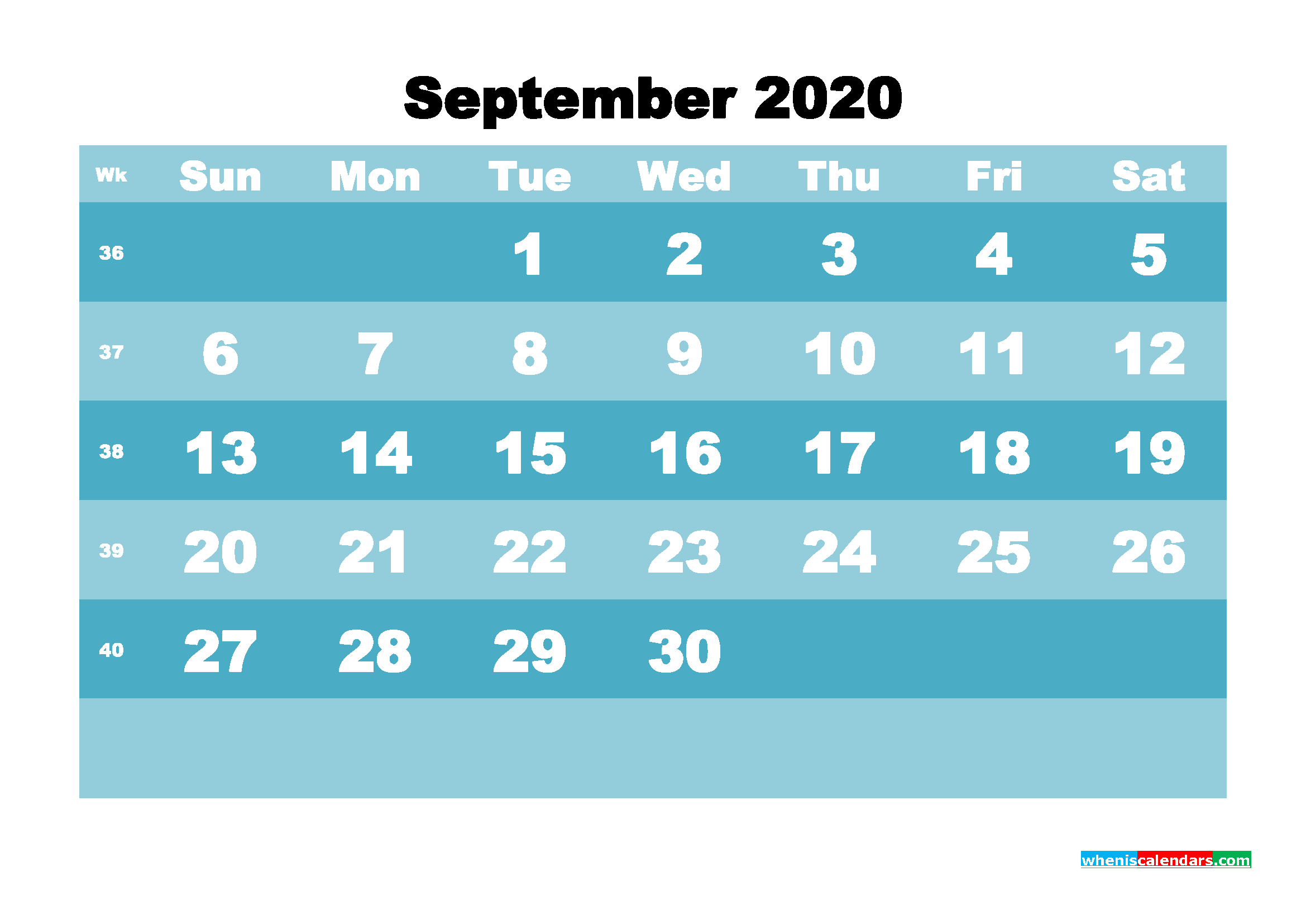 September 2020 Blank Calendar Printable - No.m20b573