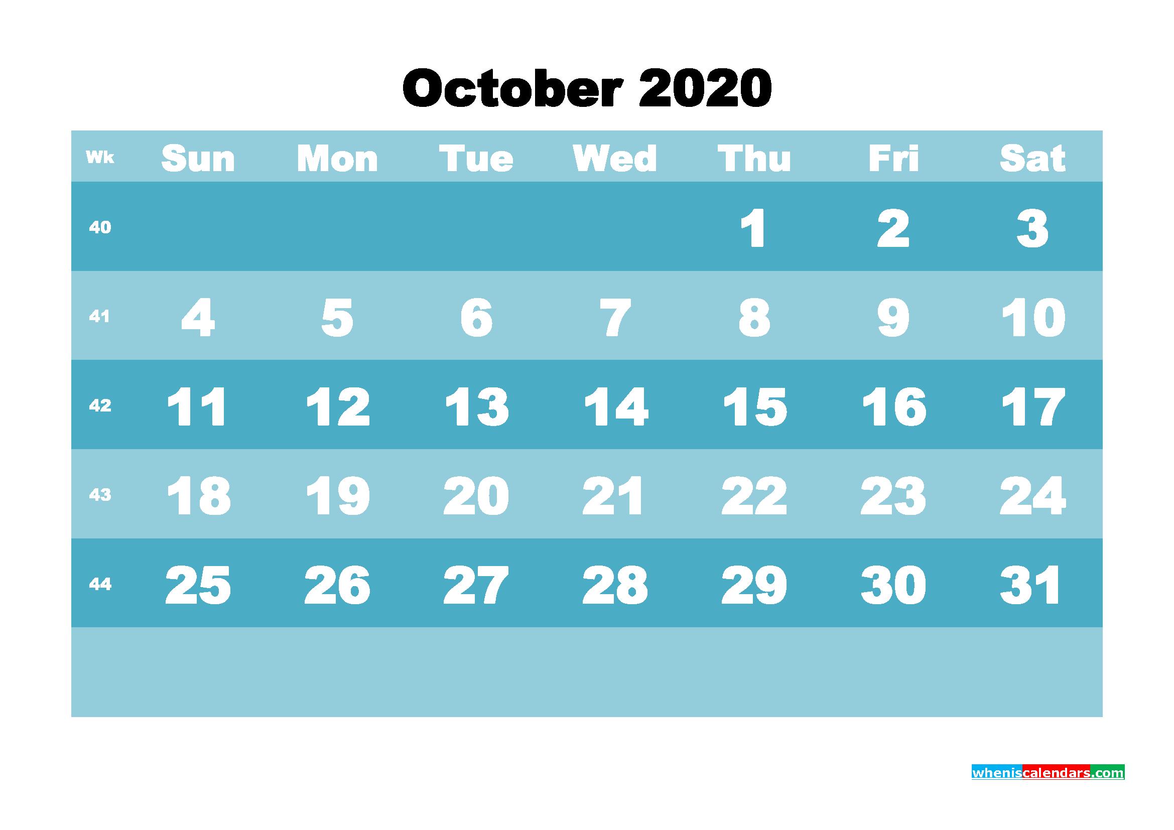 October 2020 Blank Calendar Printable - No.m20b574