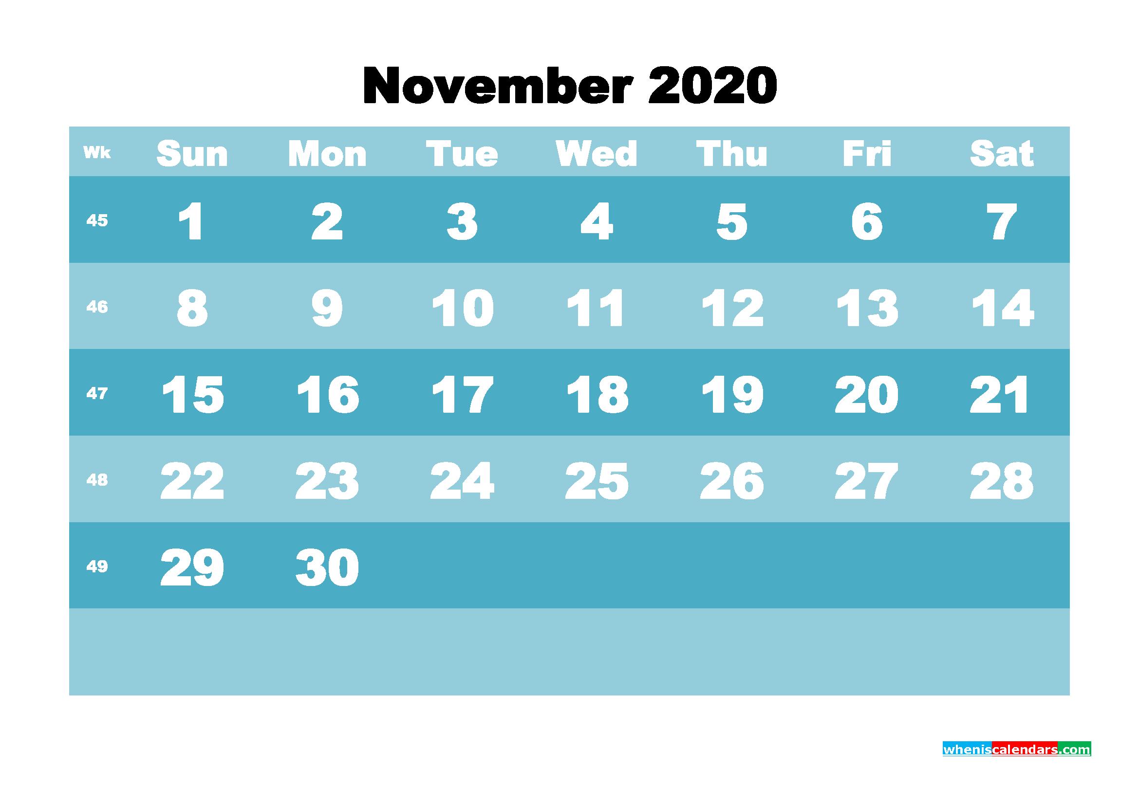 November 2020 Blank Calendar Printable - No.m20b575