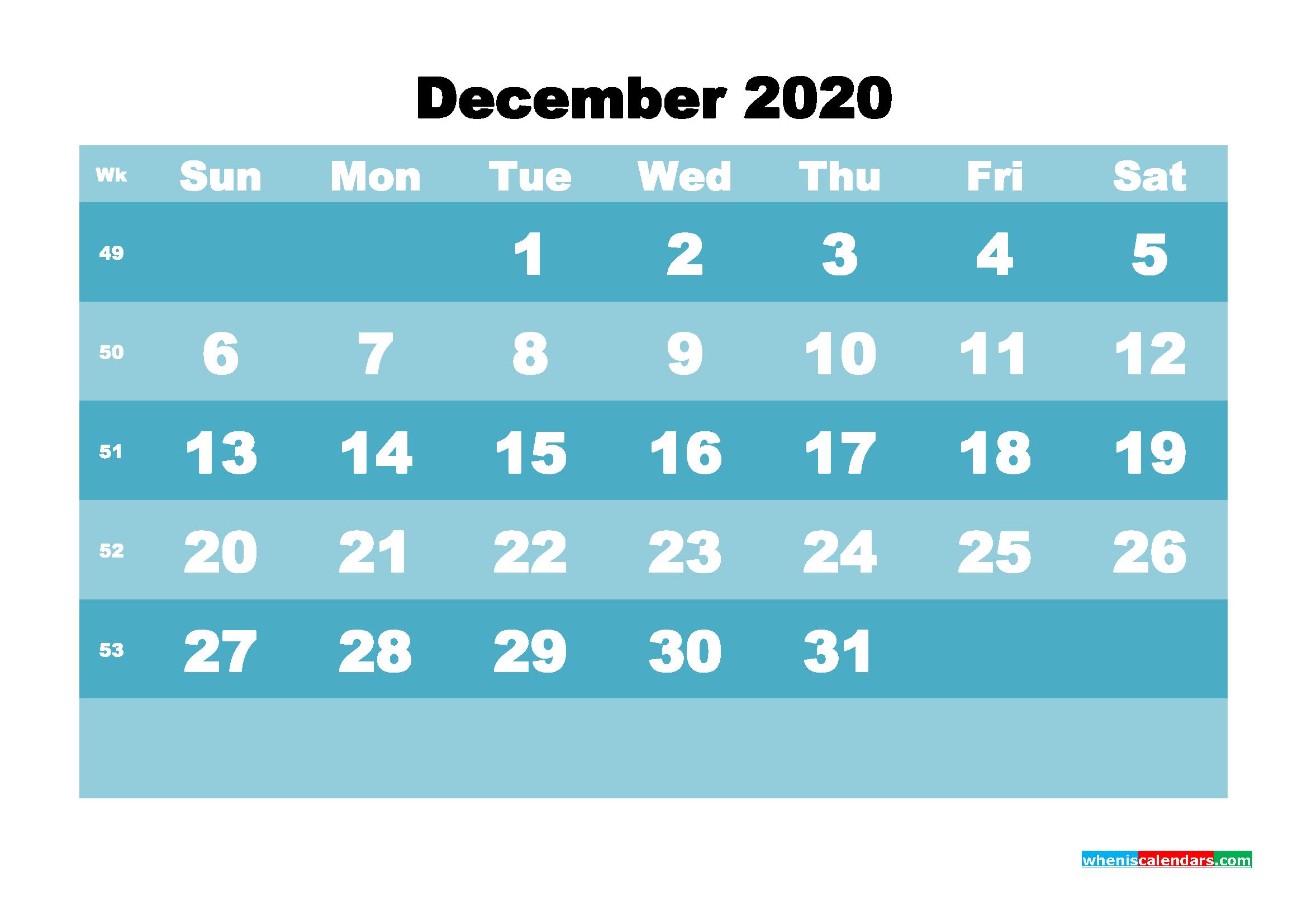 December 2020 Blank Calendar Printable - No.m20b576