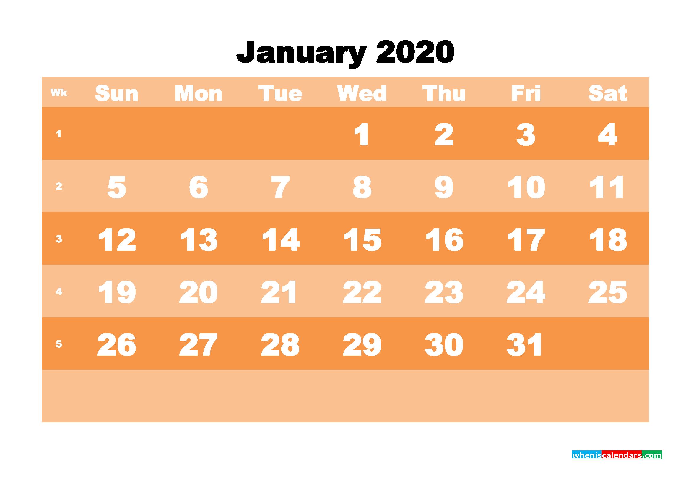 Free Printable Calendar January 2020 PDF, Word - No.m20b577