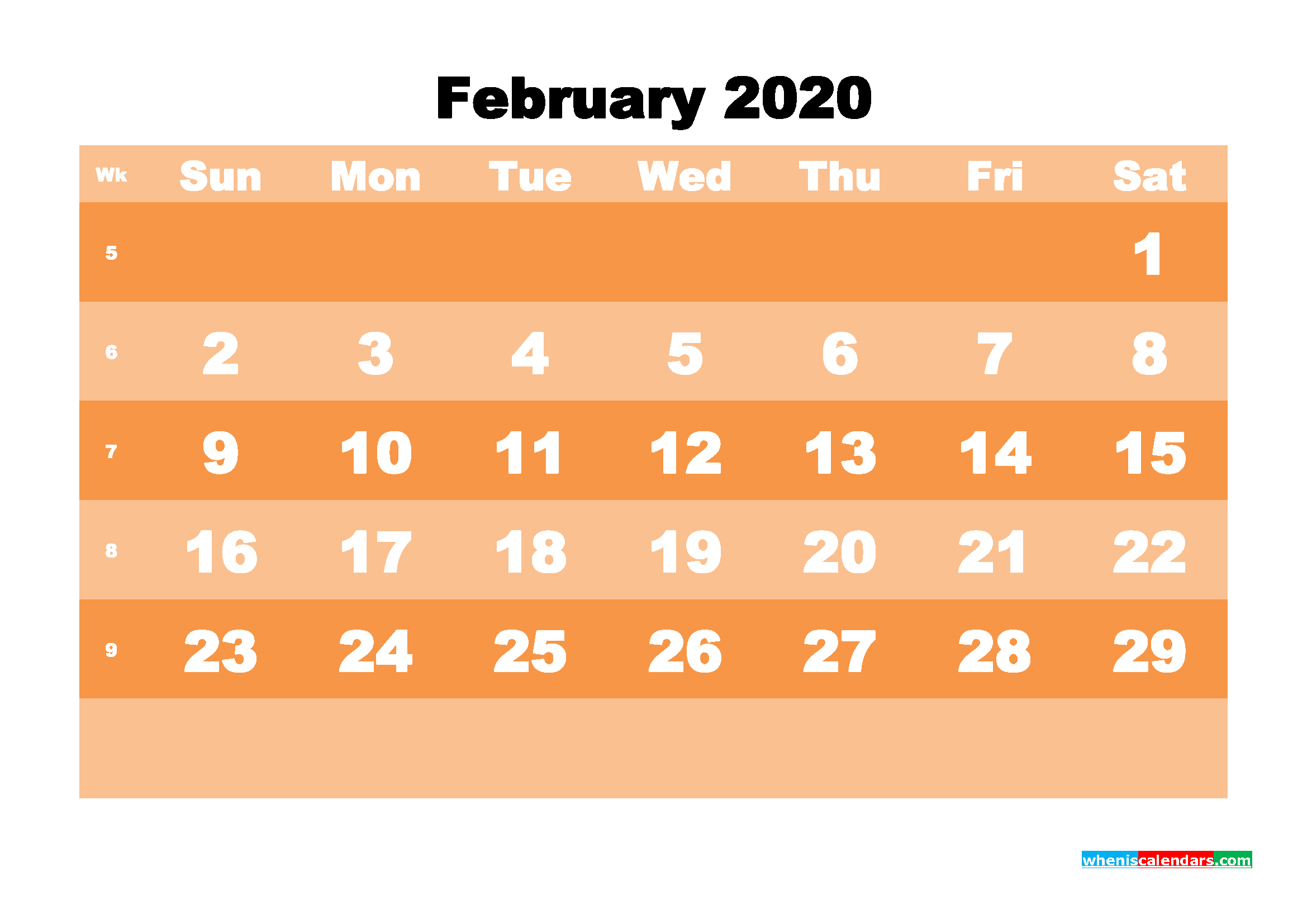 Free Printable Calendar February 2020 PDF, Word - No.m20b578