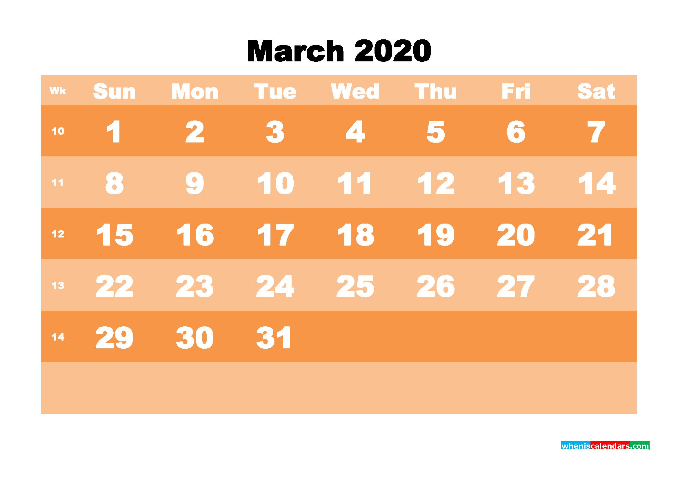 Free Printable Calendar March 2020 PDF, Word - No.m20b579