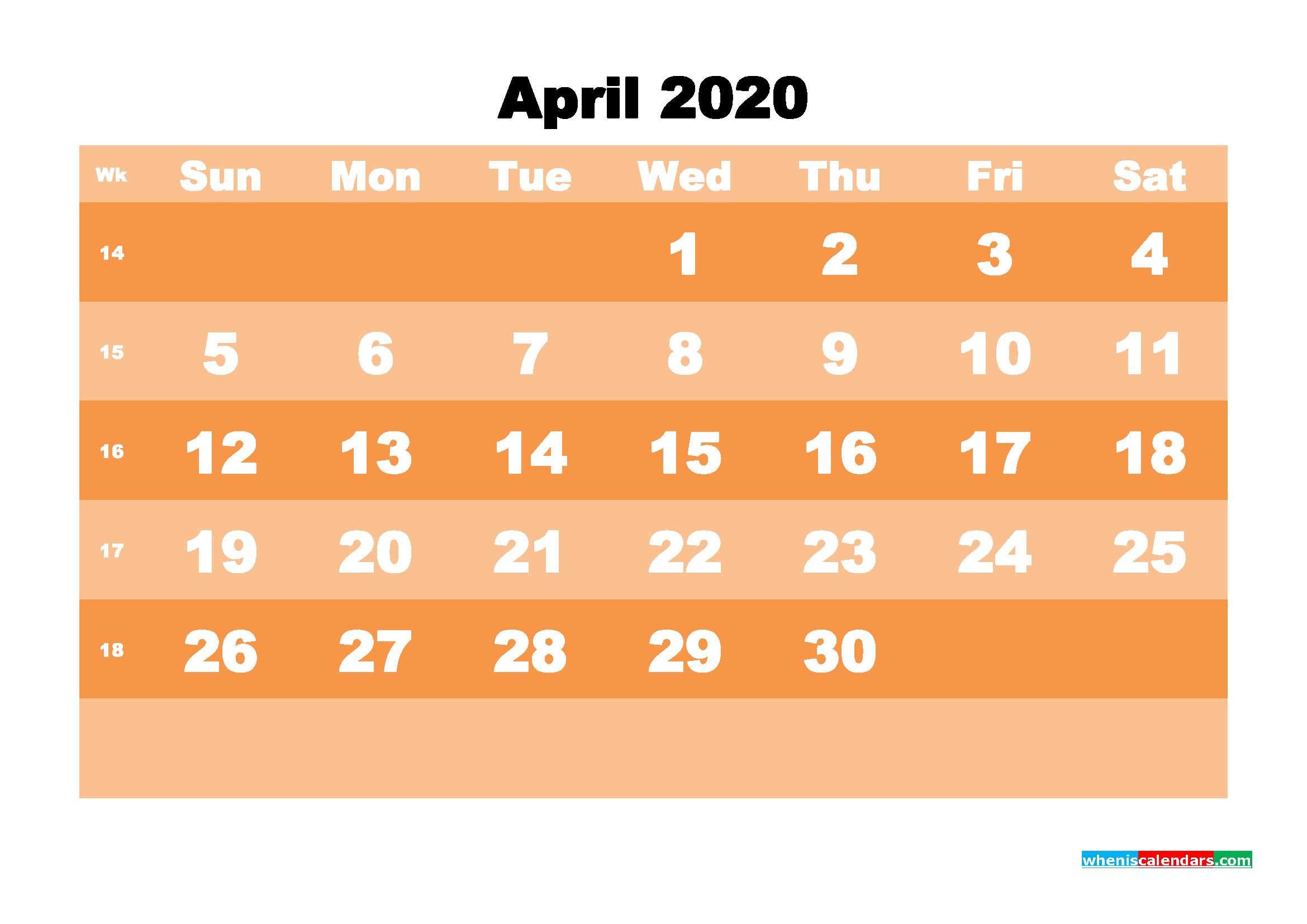 Free Printable Calendar April 2020 PDF, Word - No.m20b580