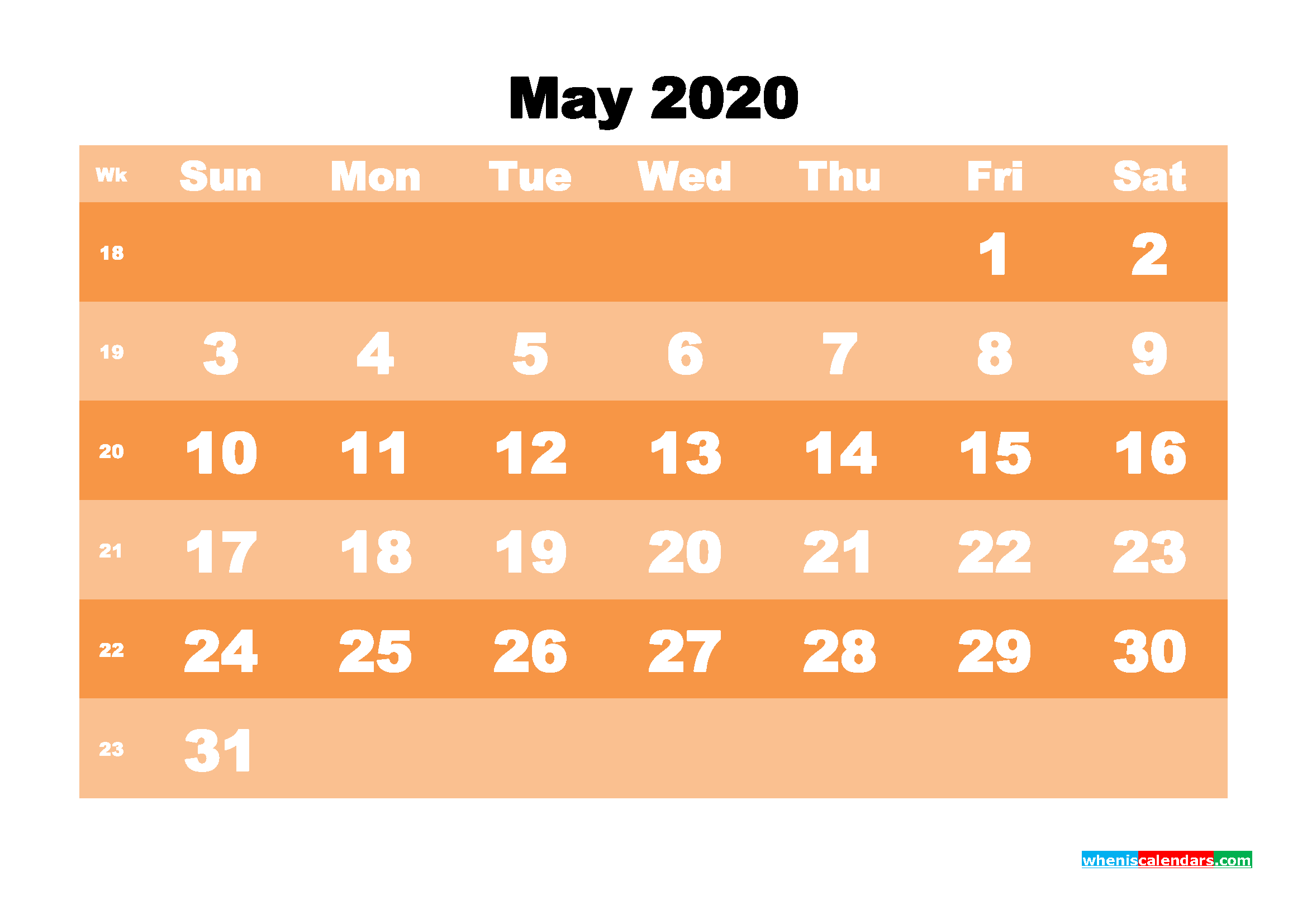 Printable 2020 Monthly Calendar with Week Numbers May