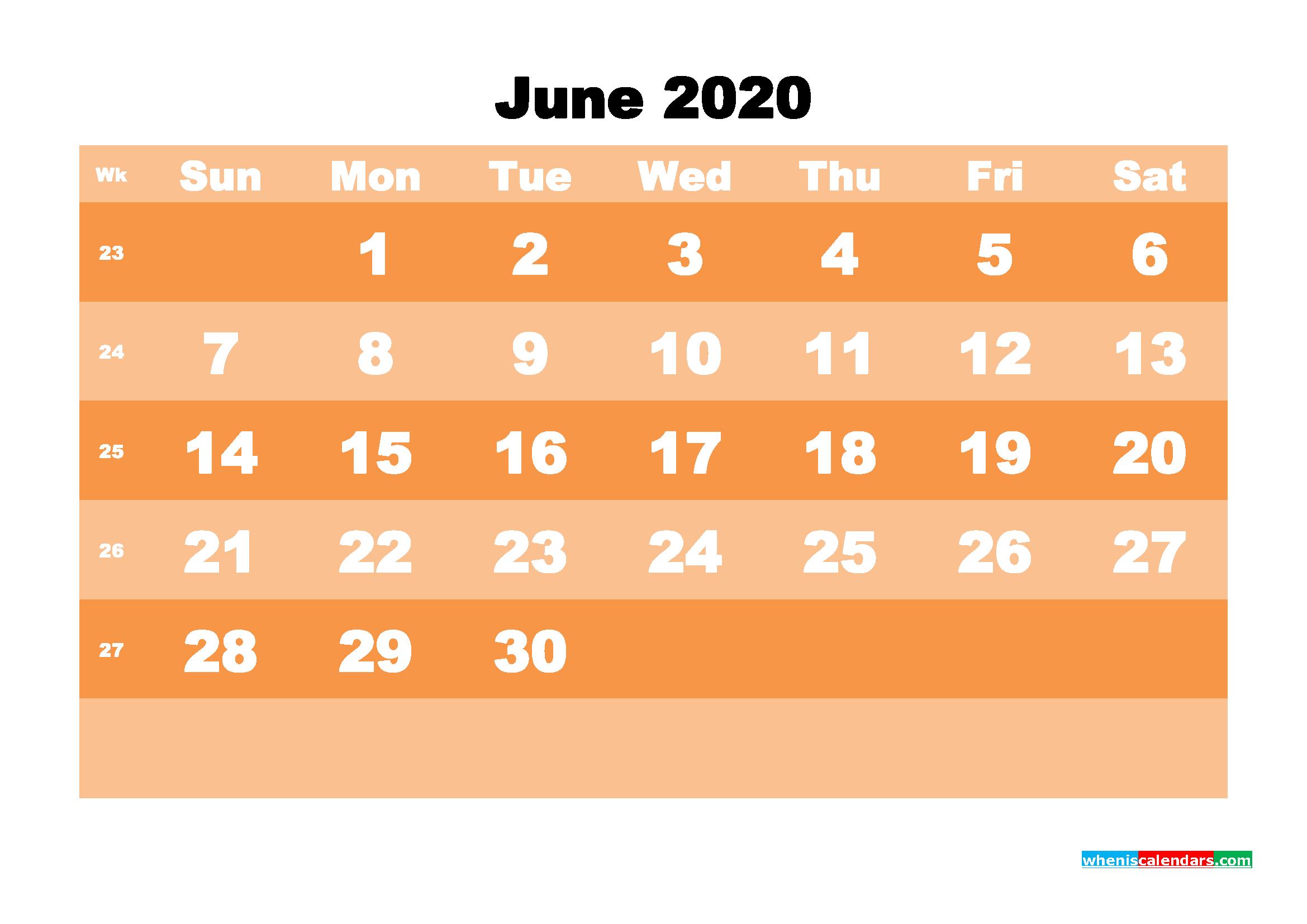 Free Printable Calendar June 2020 PDF, Word - No.m20b582