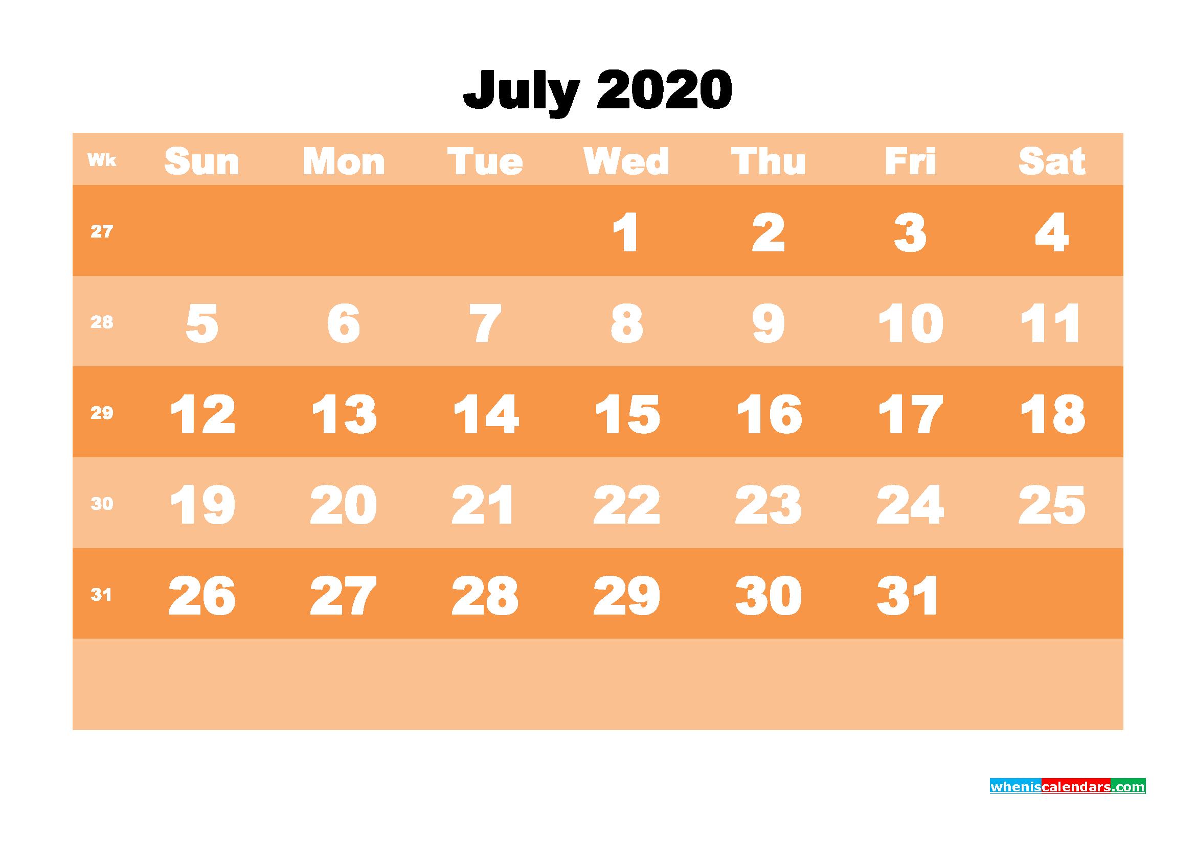 Free Printable Calendar July 2020 PDF, Word - No.m20b583