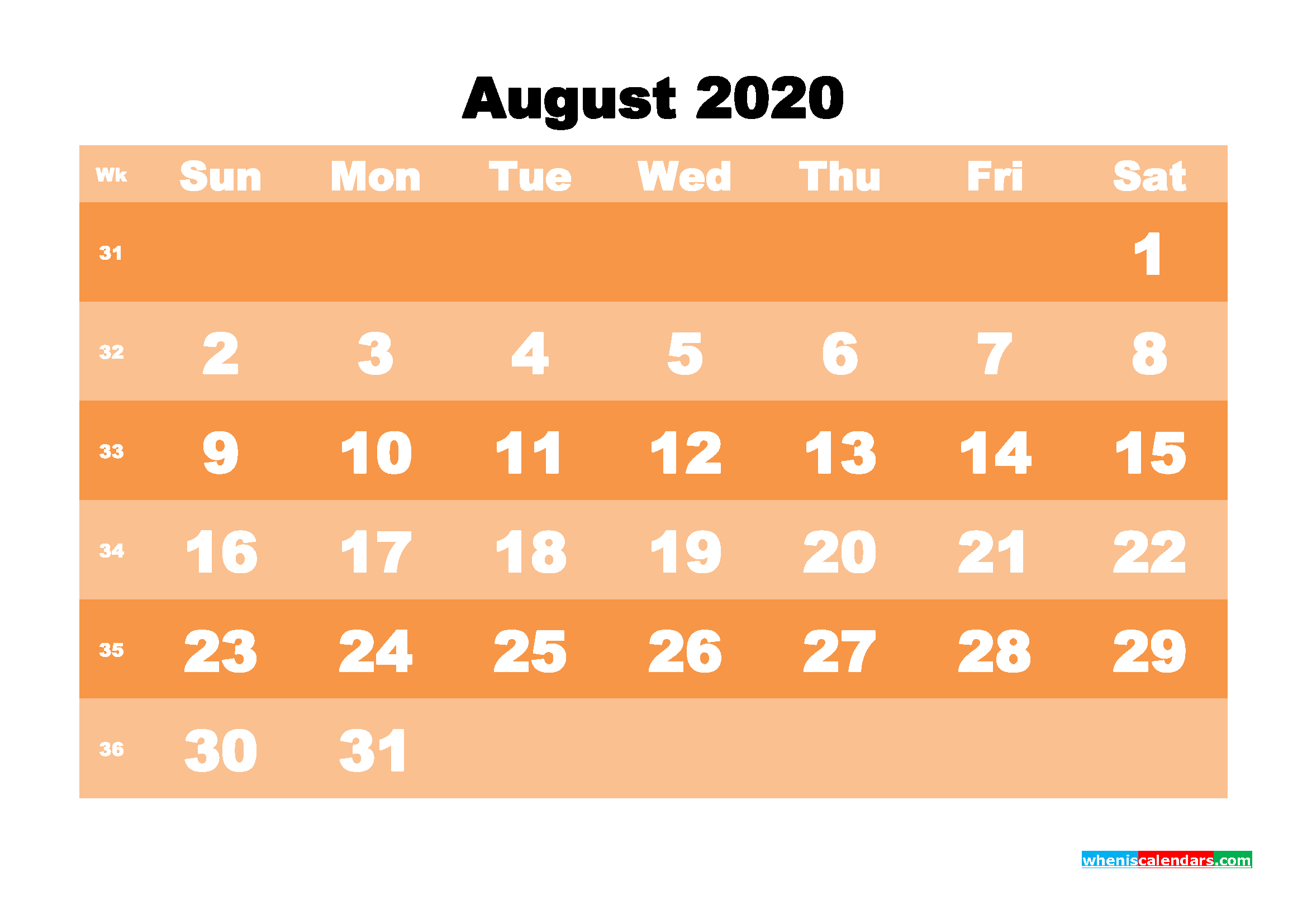 Free Printable Calendar August 2020 PDF, Word - No.m20b584