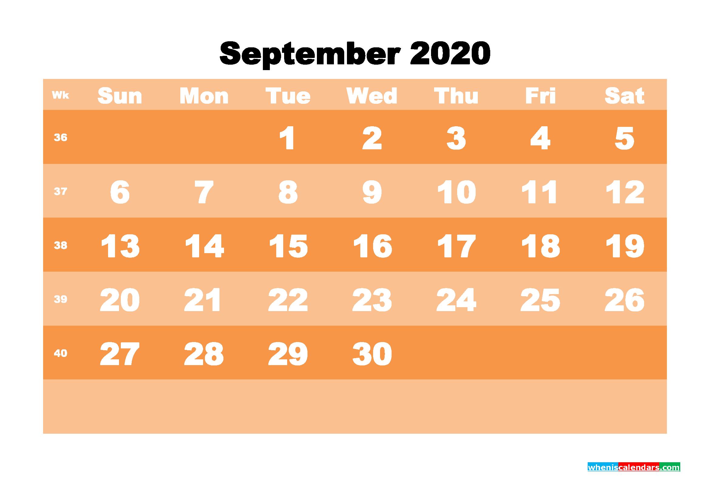 Free Printable Calendar September 2020 PDF, Word - No.m20b585