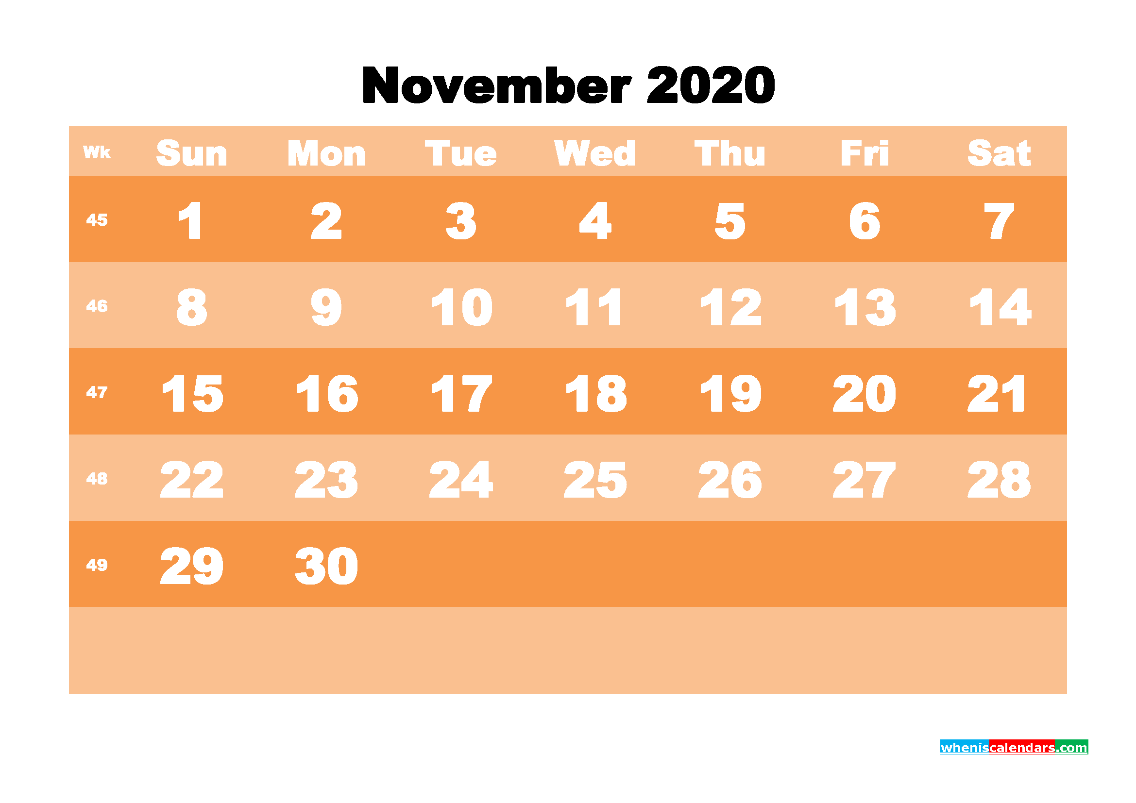 Free Printable Calendar November 2020 PDF, Word - No.m20b587