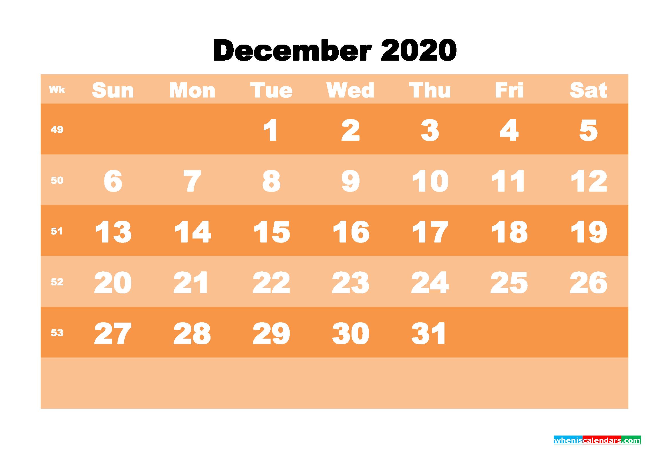 Free Printable Calendar December 2020 PDF, Word - No.m20b588