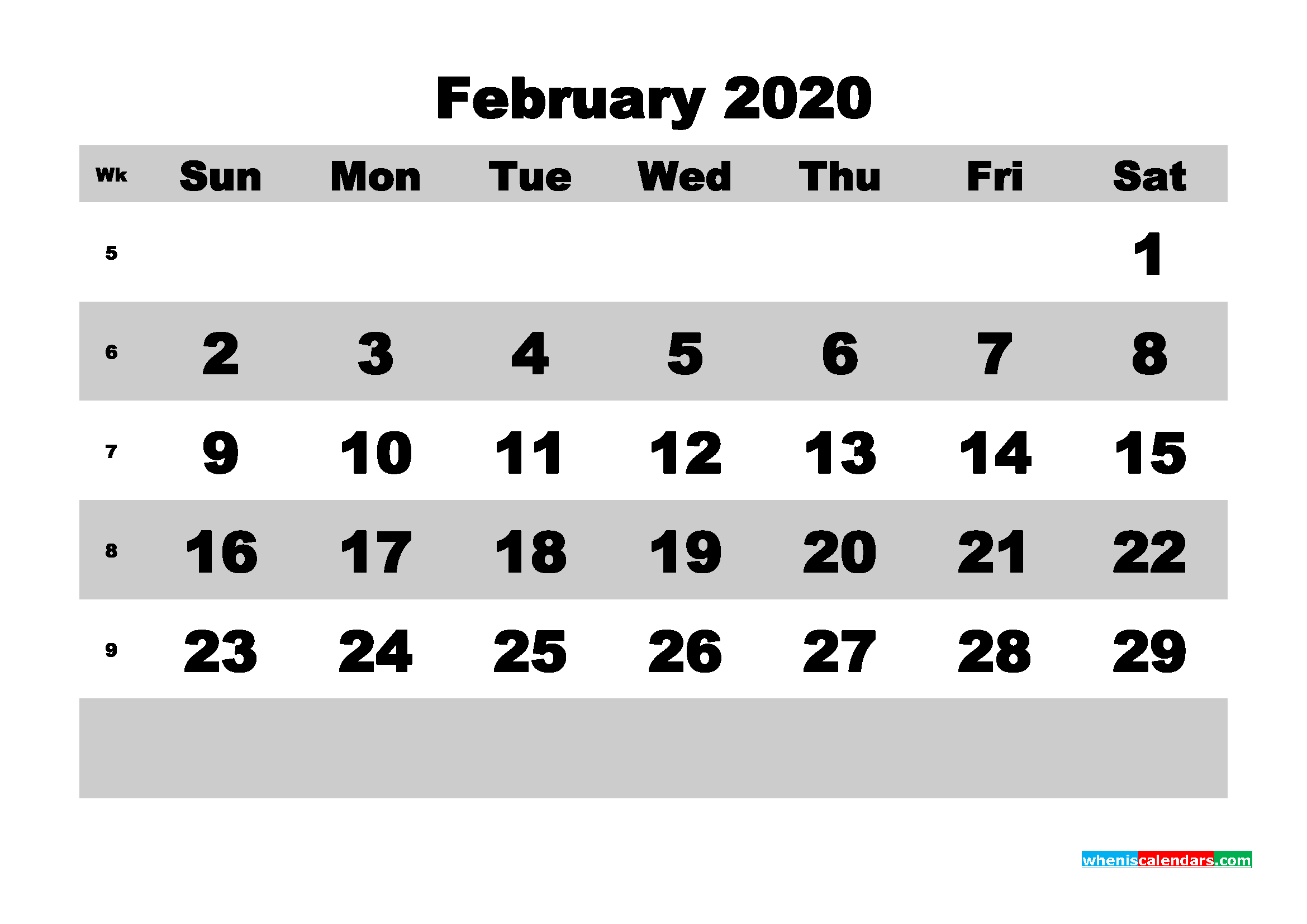 February Printable Calendar 2020 PDF, Word - No.m20b590
