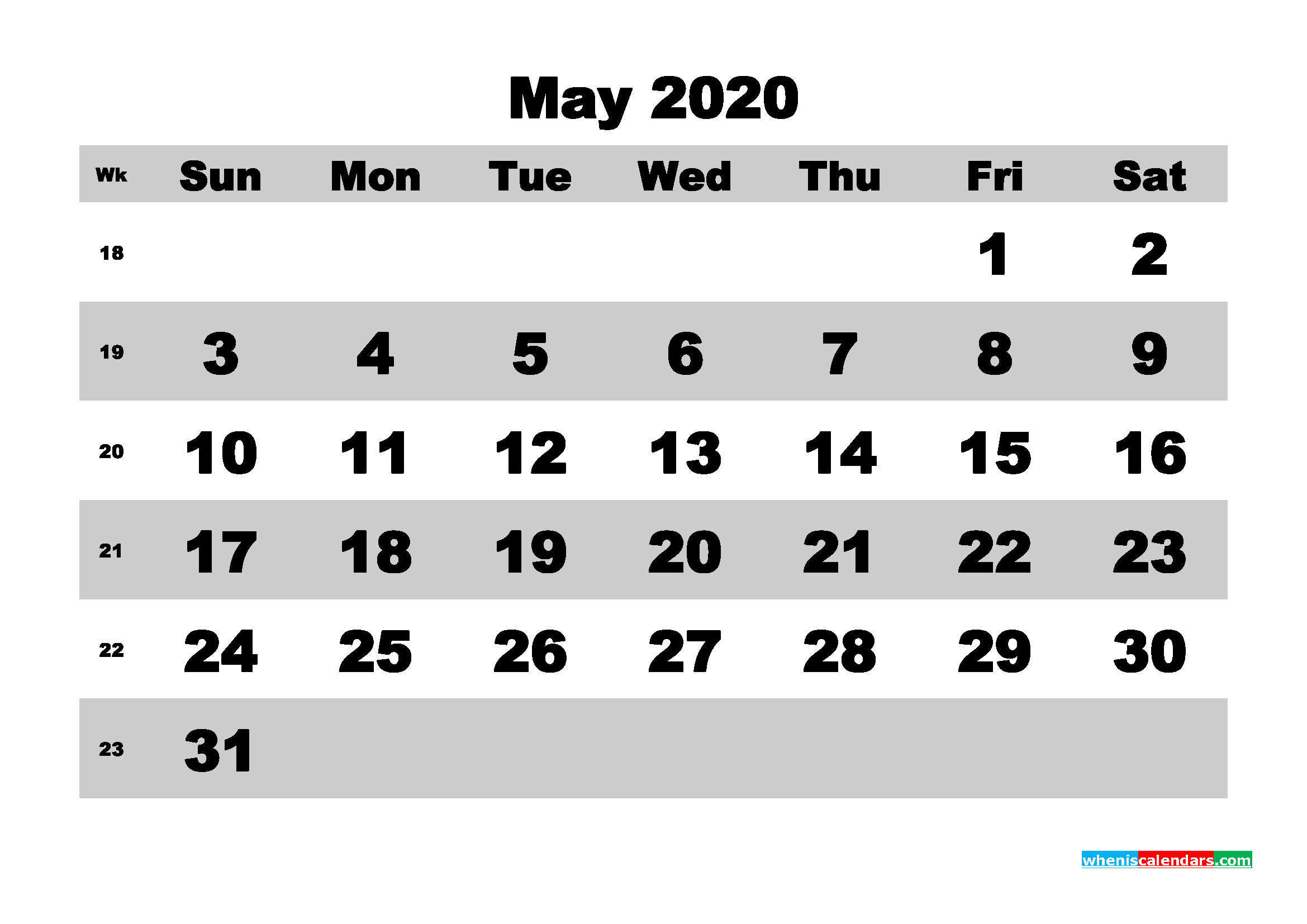 May Printable Calendar 2020 PDF, Word - No.m20b593