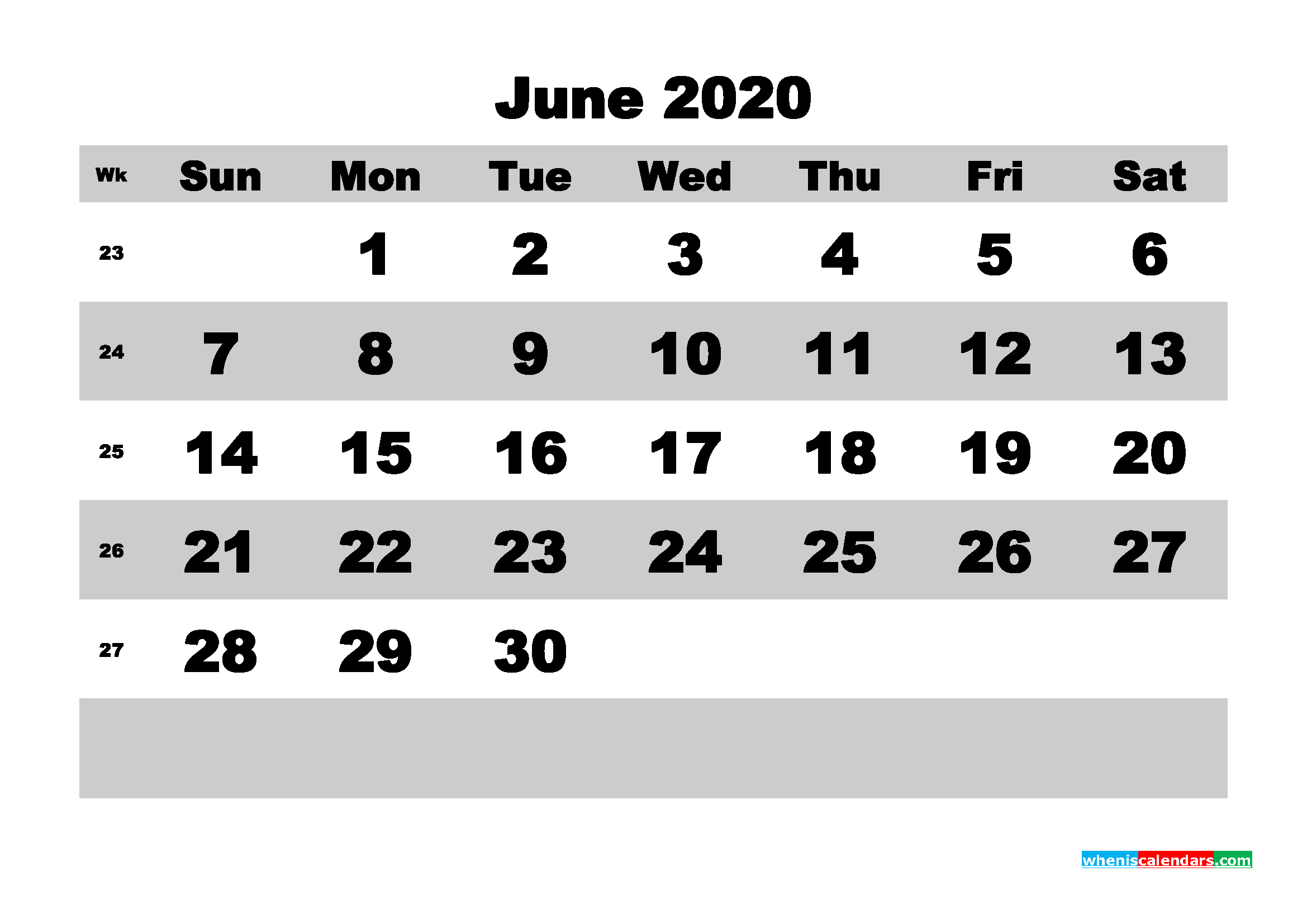 June Printable Calendar 2020 PDF, Word - No.m20b594