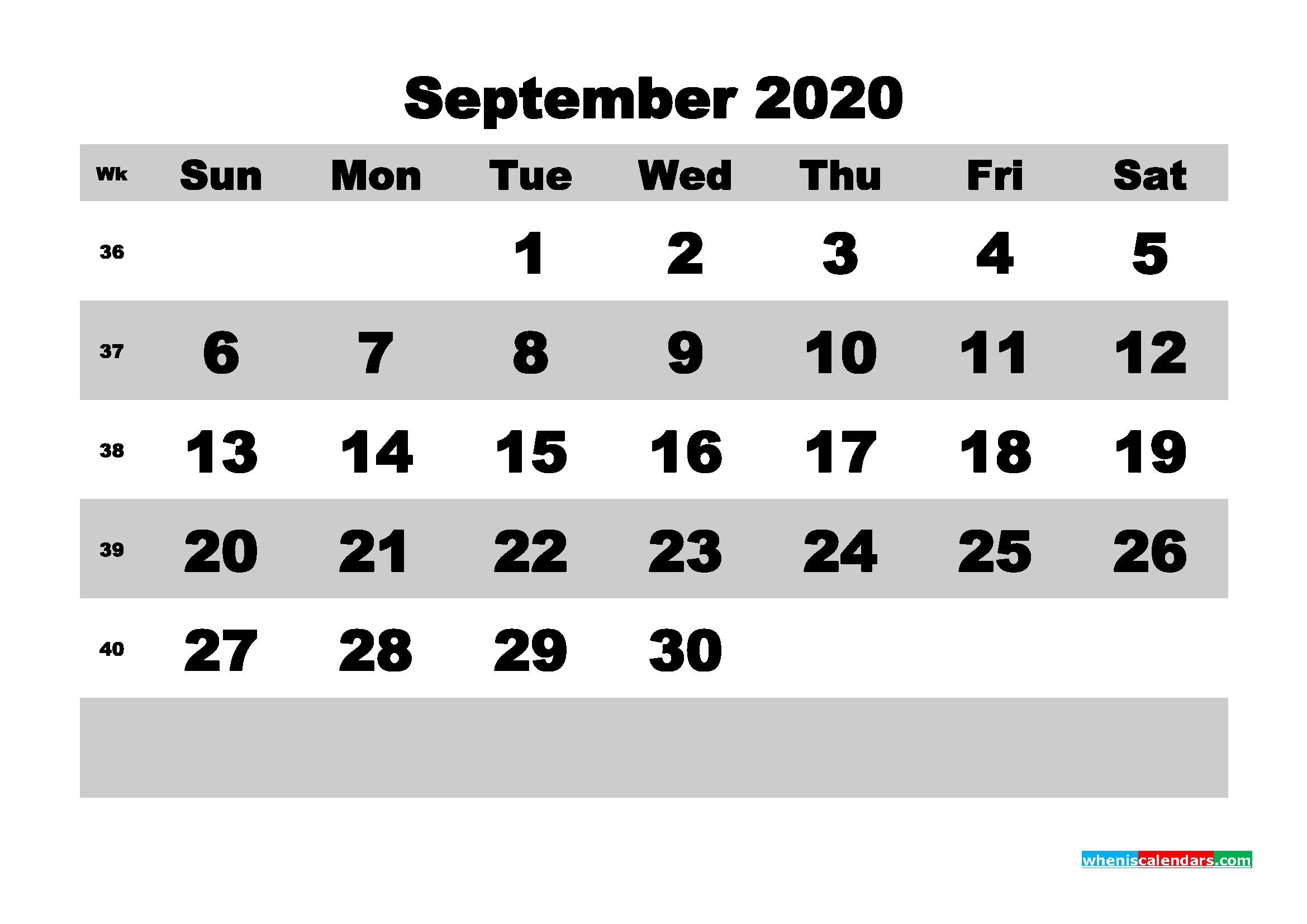 September Printable Calendar 2020 PDF, Word - No.m20b597