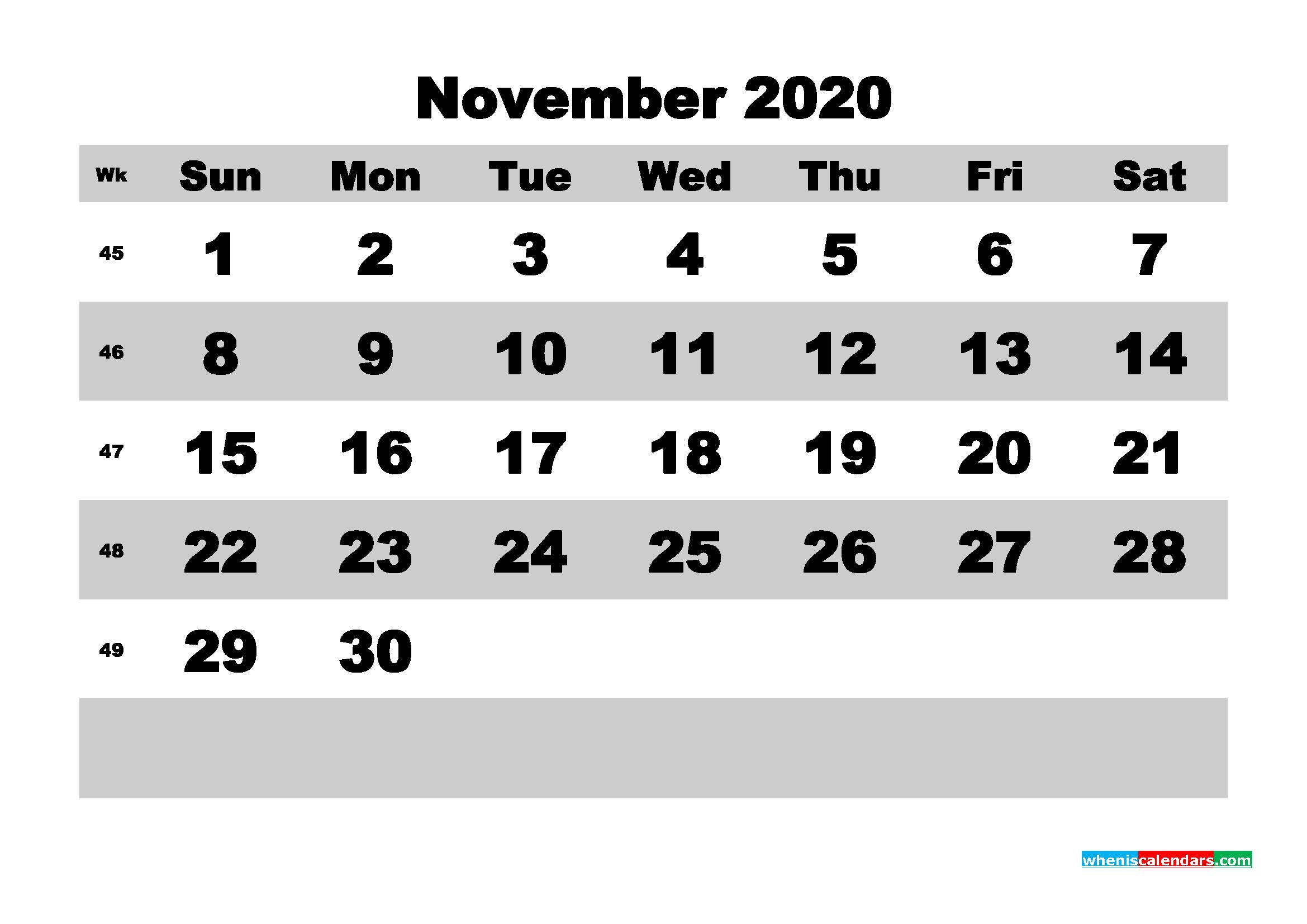 November Printable Calendar 2020 PDF, Word - No.m20b599