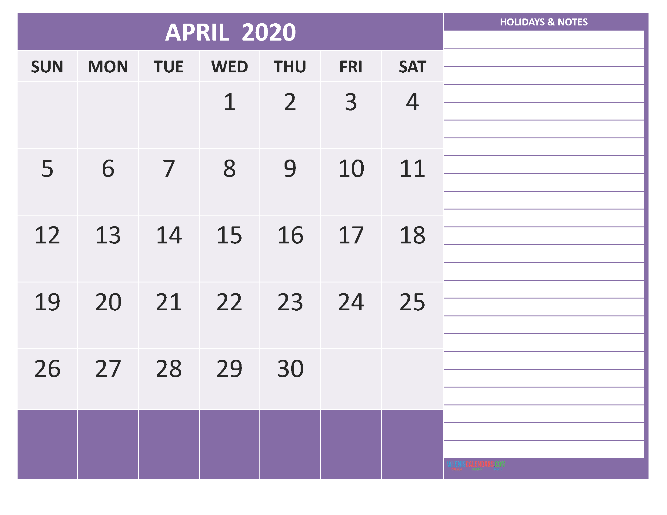 April 2020 Calendar with Holidays Word, PDF