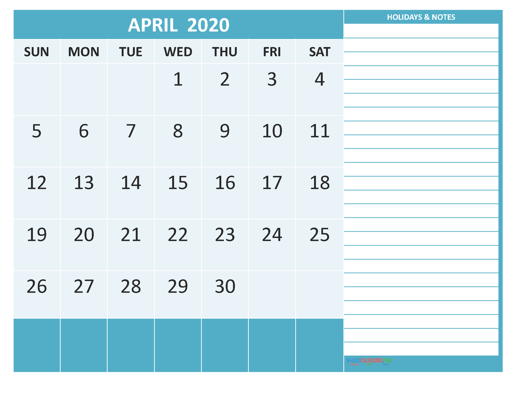 Free Printable Monthly 2020 Calendar with Holidays April