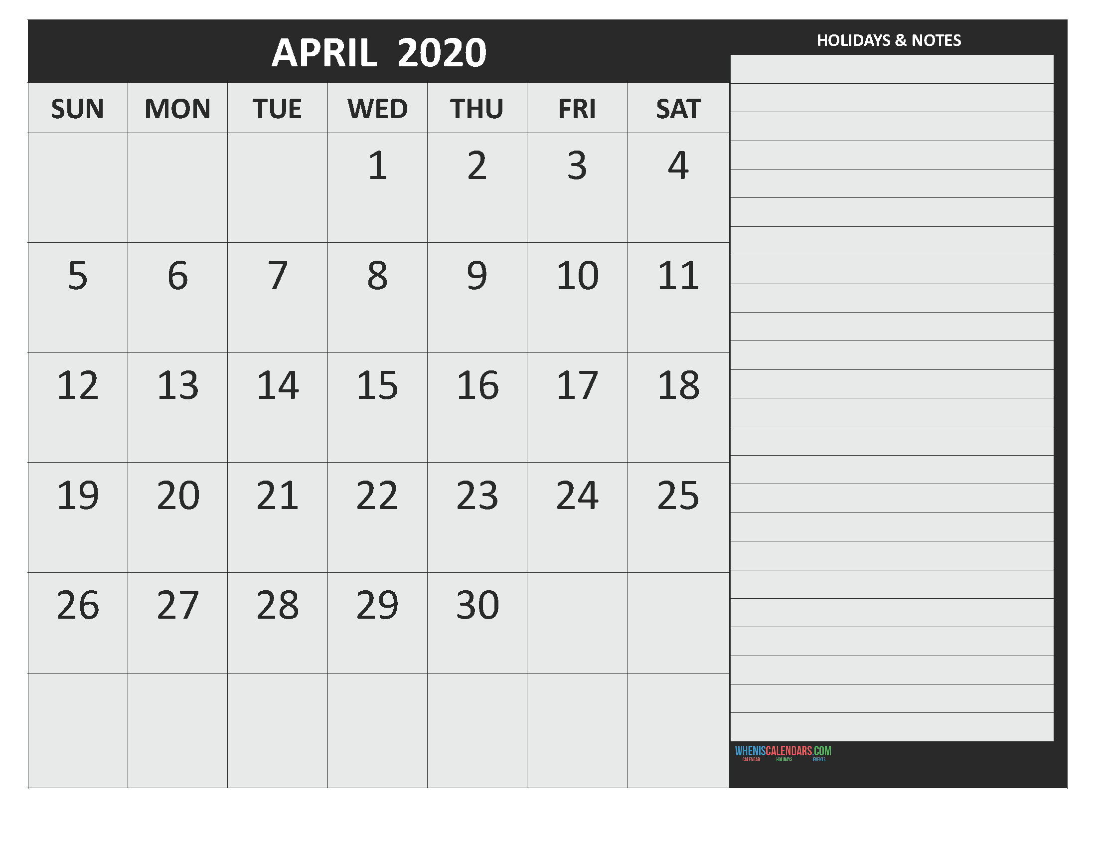 Free April 2020 Monthly Calendar Template Word