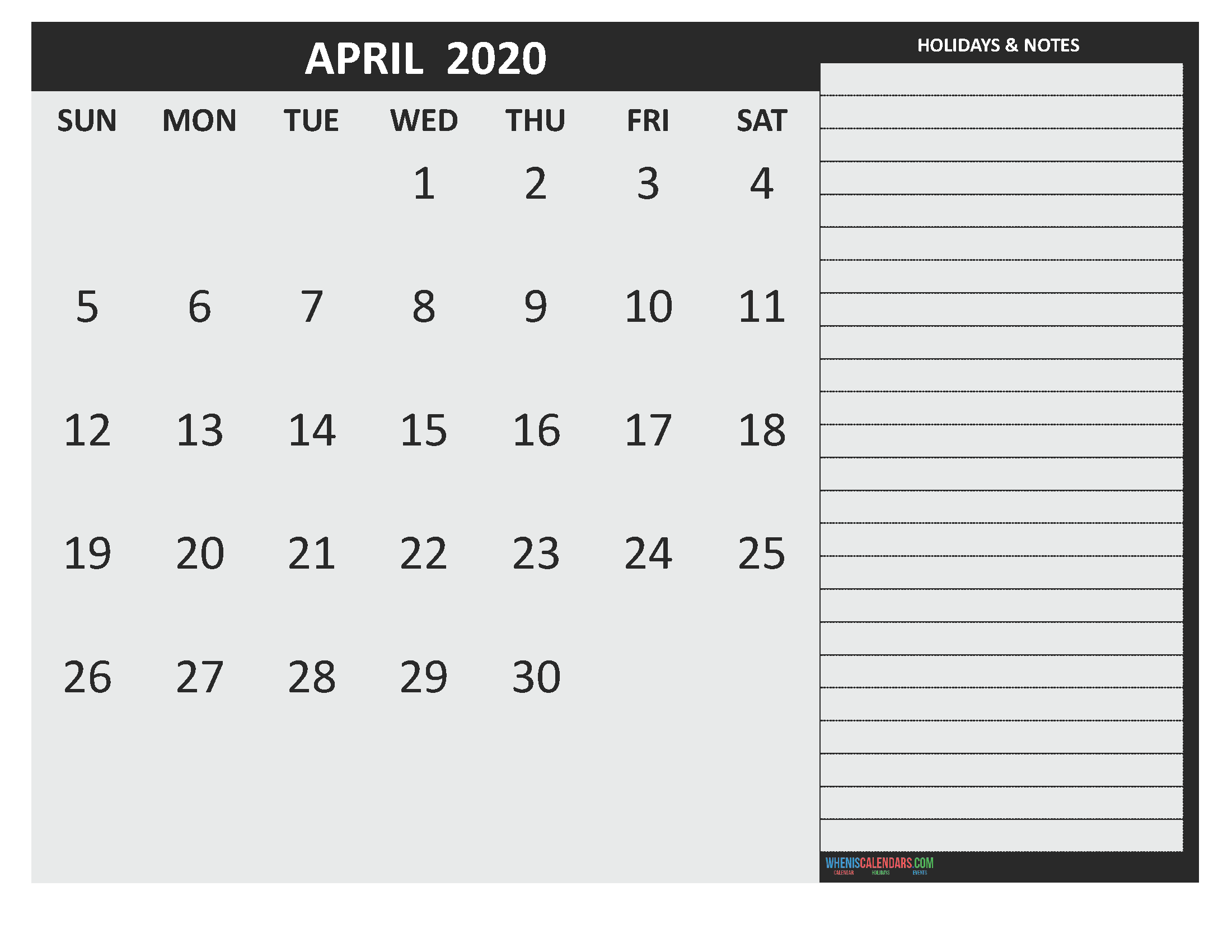 Free Printable Monthly Calendar 2020 April with Holidays