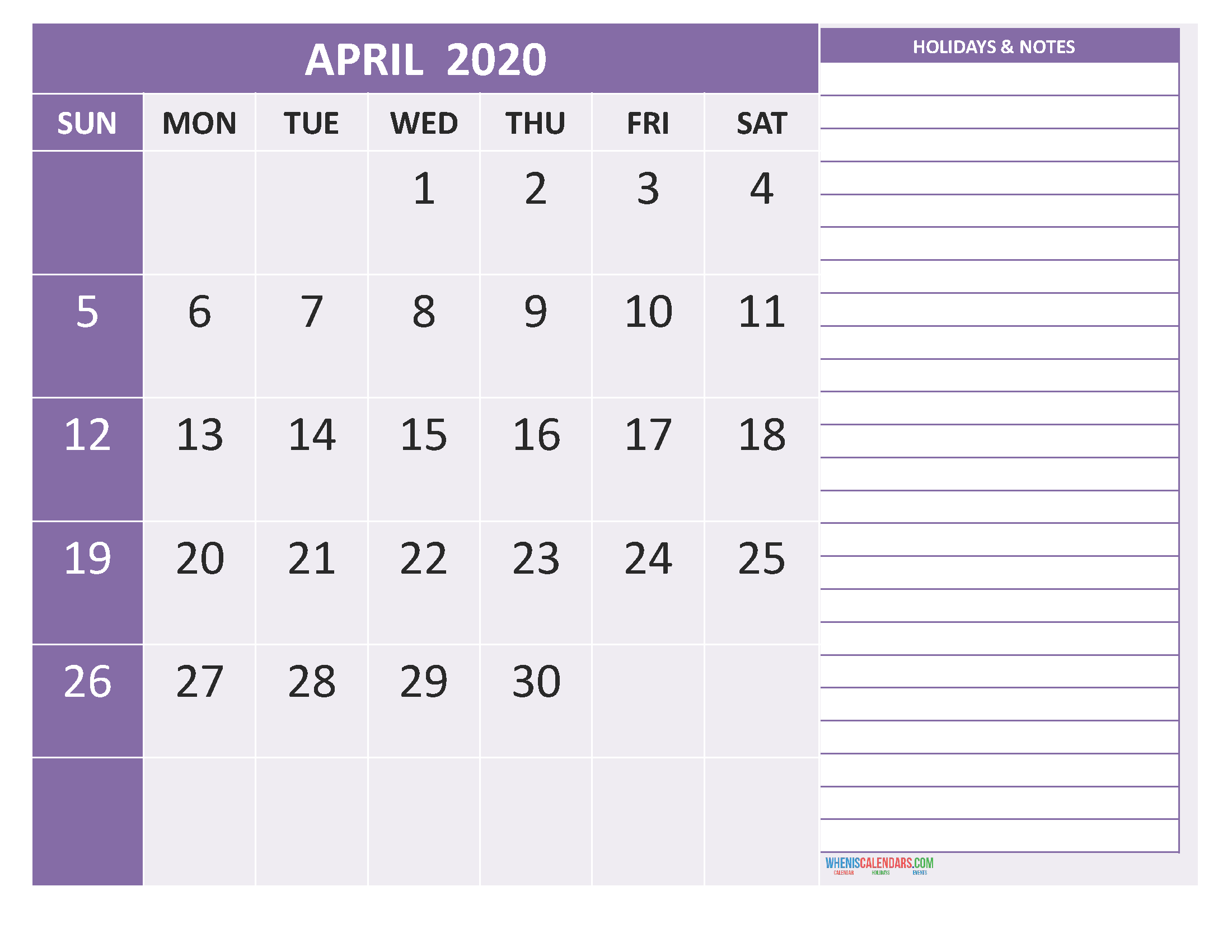 April 2020 Calendar with Holidays Free Printable by Word